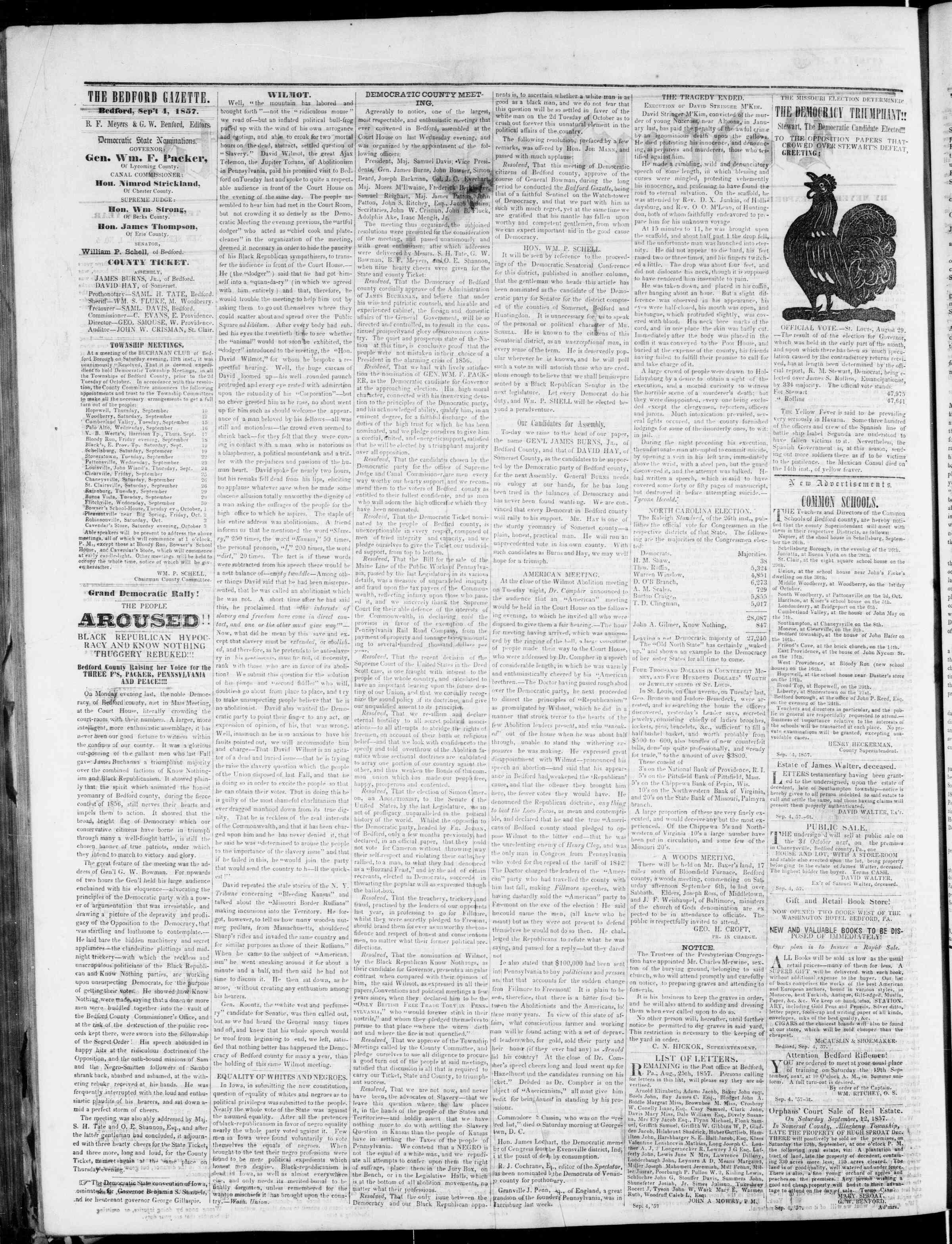 Newspaper of Bedford Gazette dated September 4, 1857 Page 2