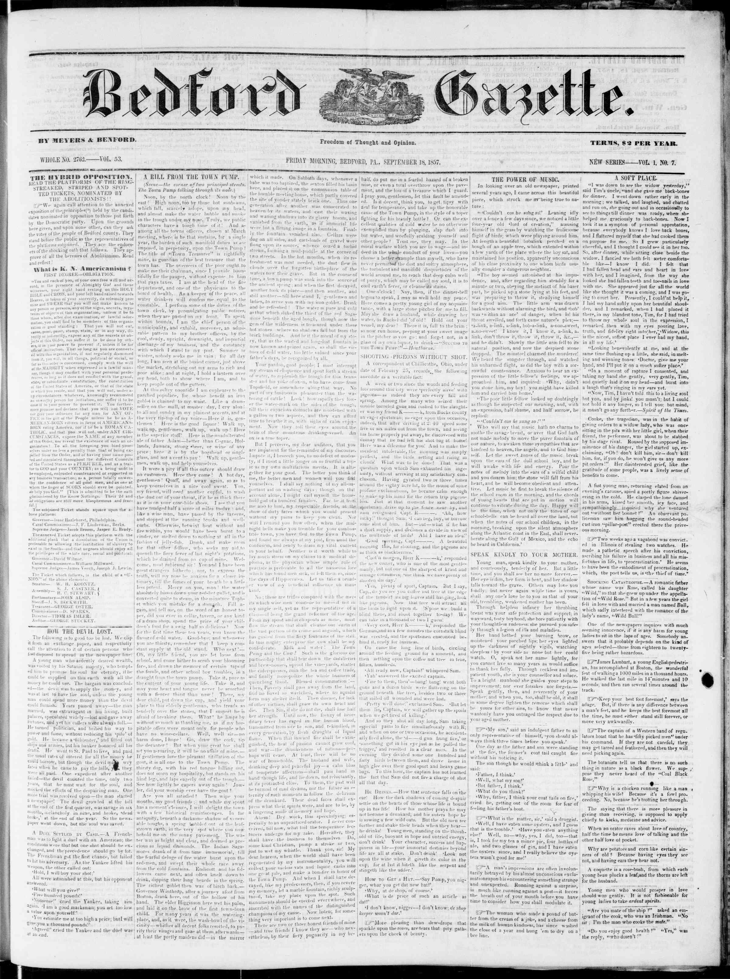 Newspaper of Bedford Gazette dated September 18, 1857 Page 1