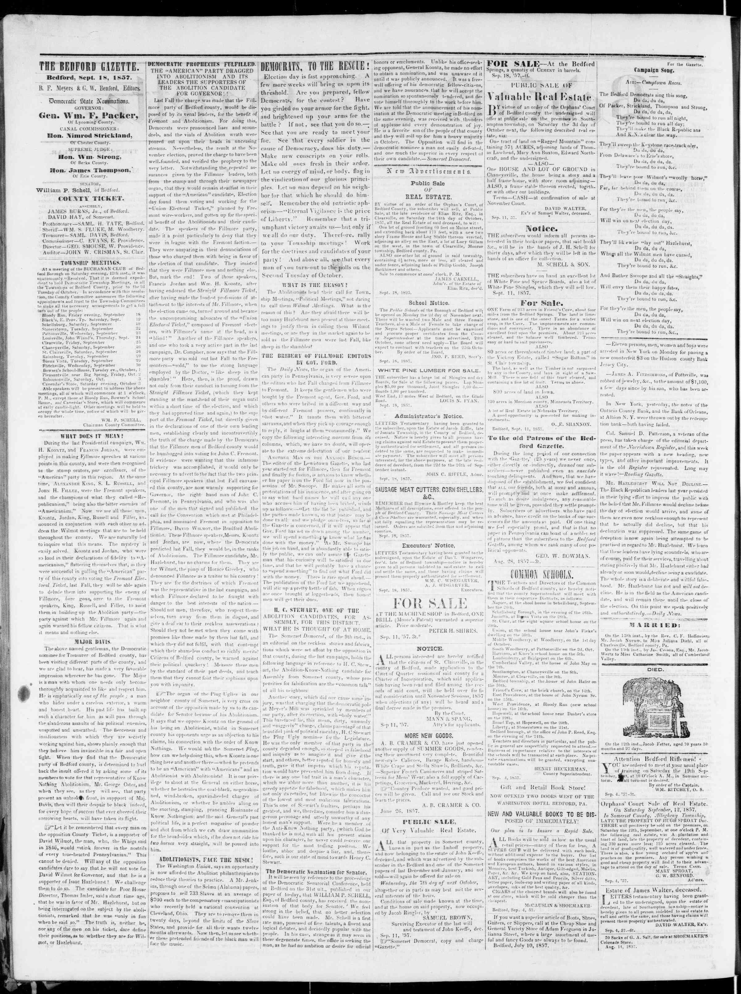 Newspaper of Bedford Gazette dated September 18, 1857 Page 2