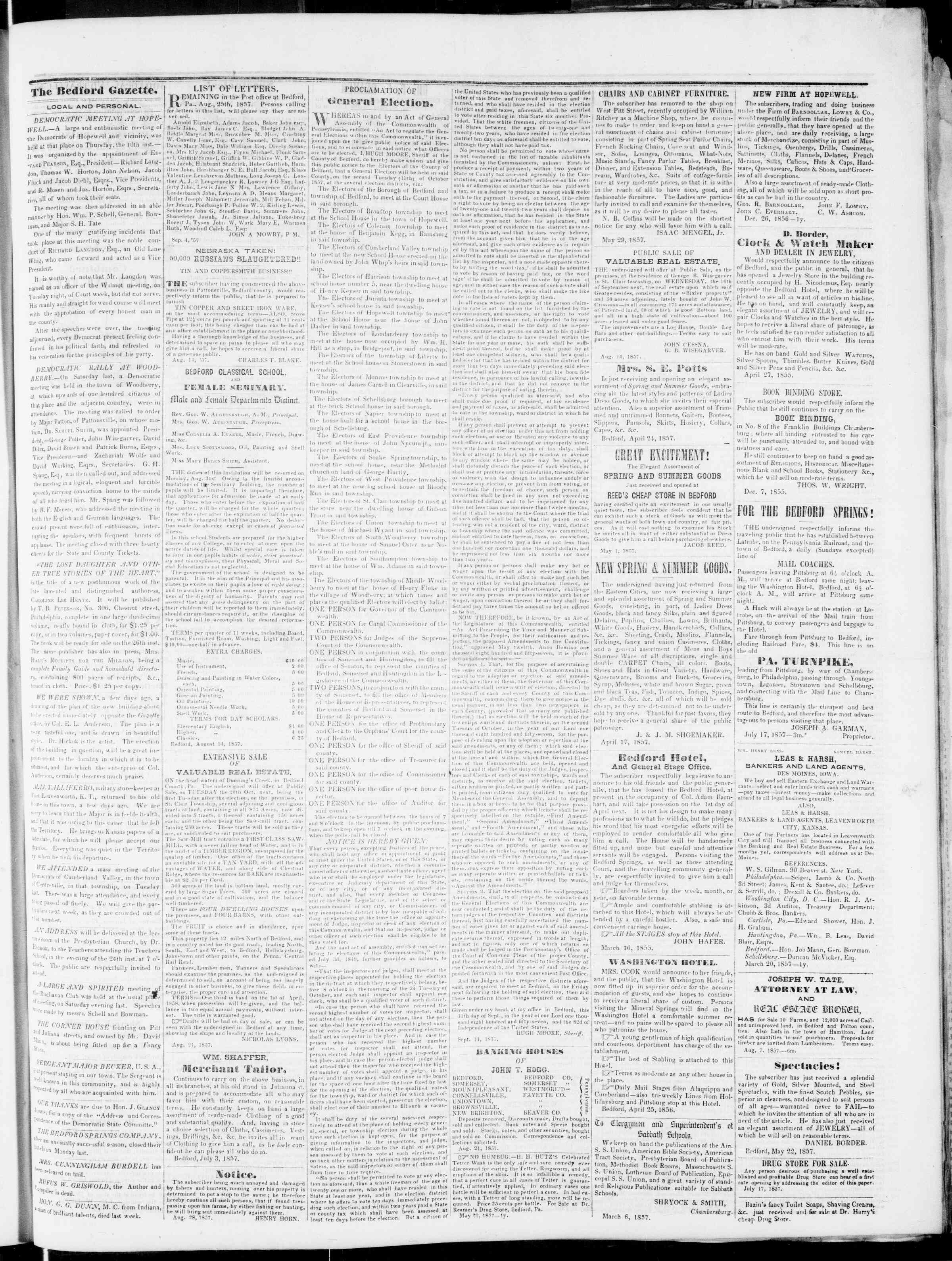 Newspaper of Bedford Gazette dated September 18, 1857 Page 3
