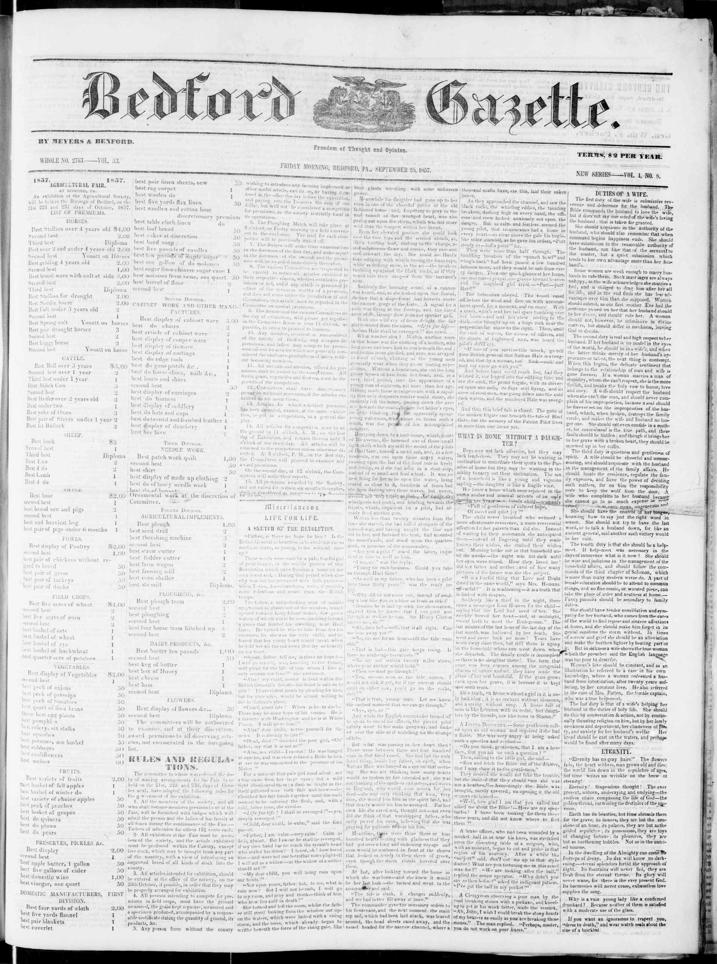 Newspaper of Bedford Gazette dated September 25, 1857 Page 1