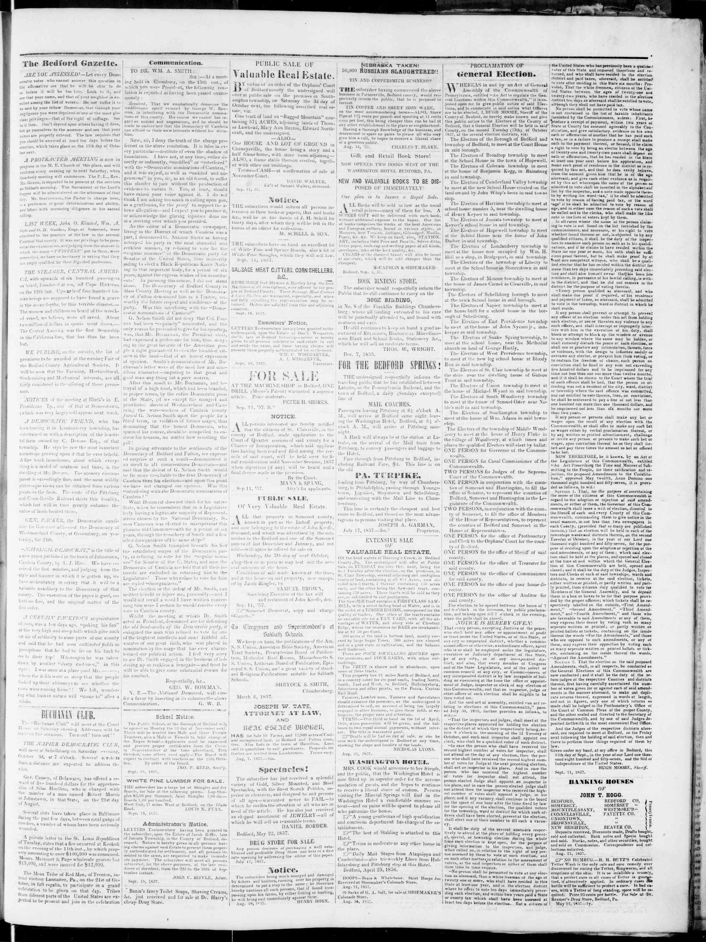 Newspaper of Bedford Gazette dated September 25, 1857 Page 3