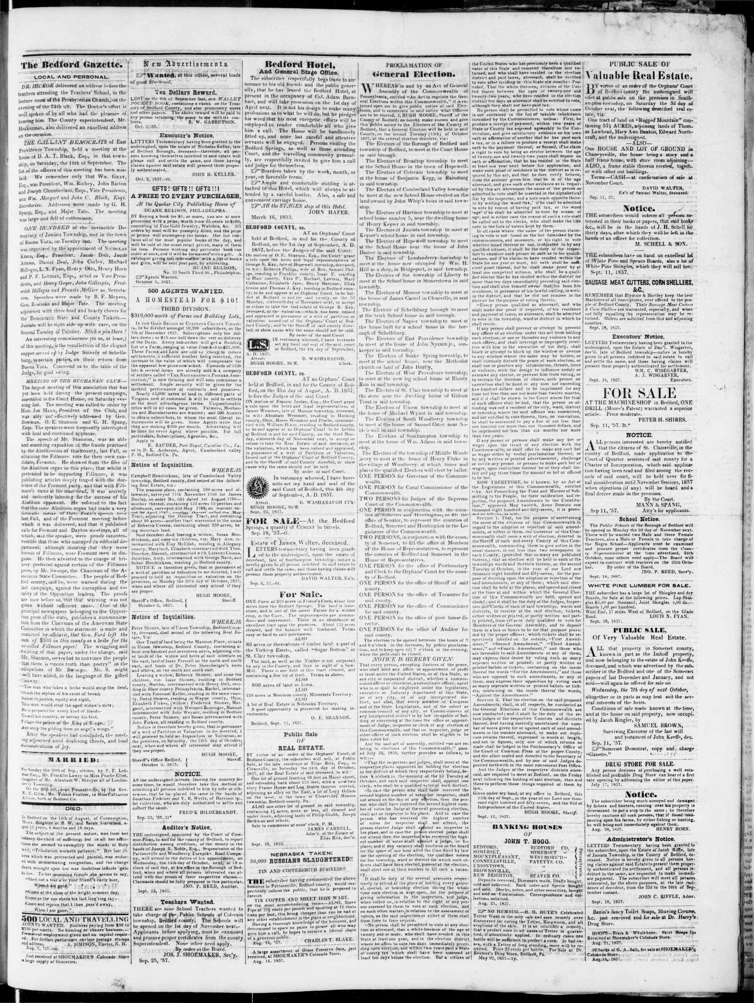 Newspaper of Bedford Gazette dated October 2, 1857 Page 3
