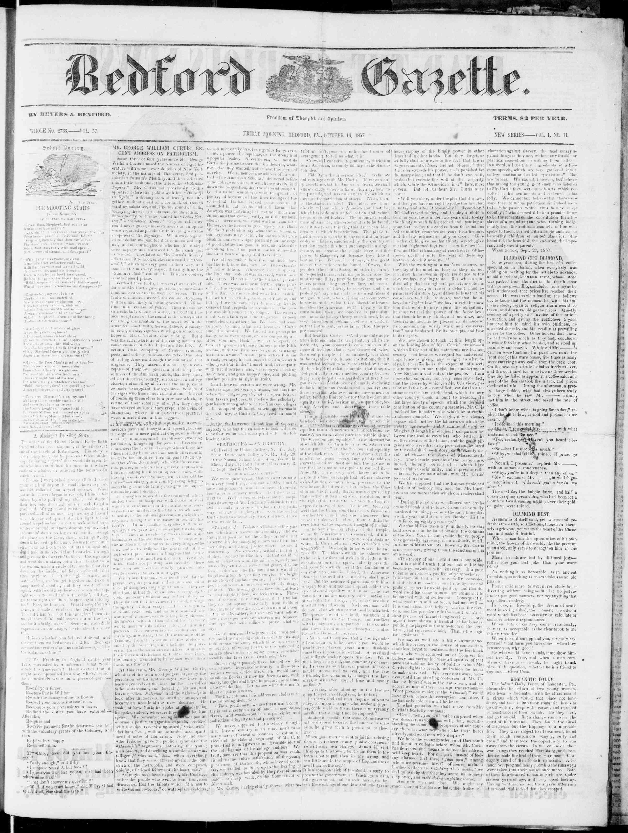 Newspaper of Bedford Gazette dated October 16, 1857 Page 1
