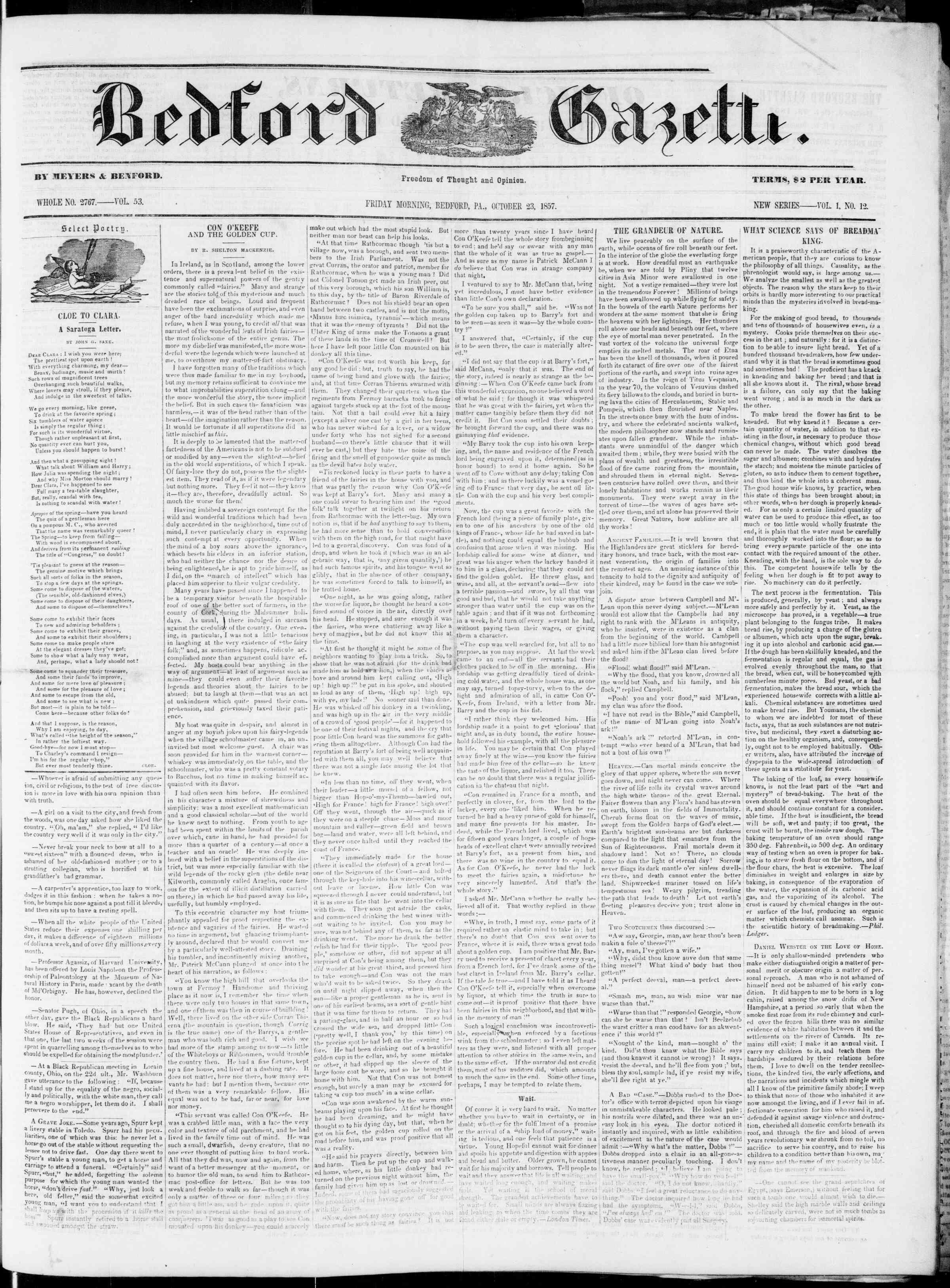Newspaper of Bedford Gazette dated October 23, 1857 Page 1