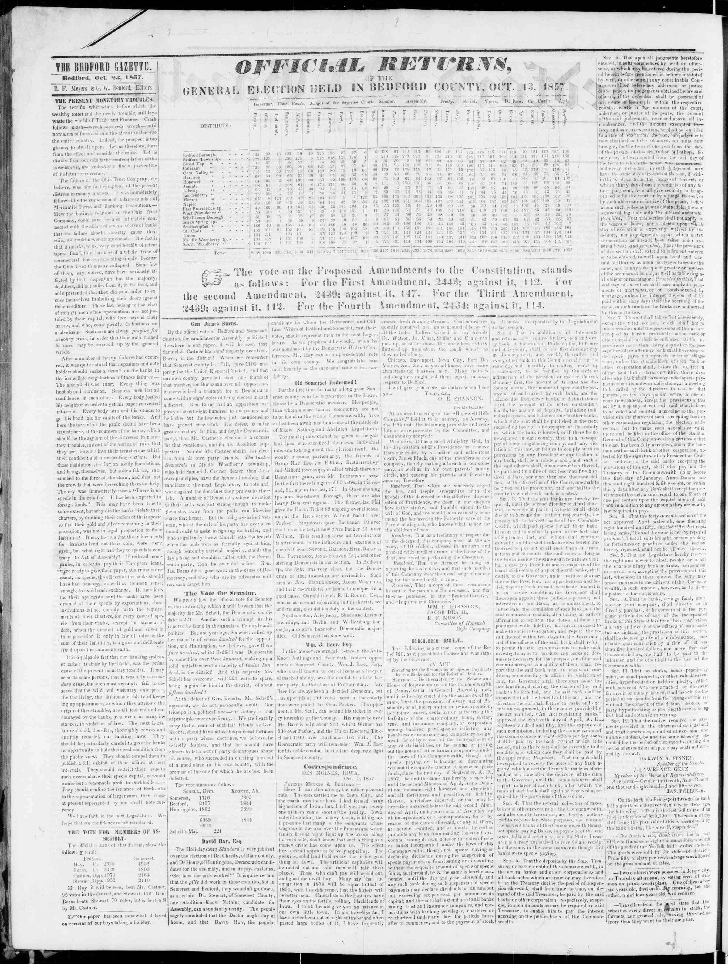 Newspaper of Bedford Gazette dated 23 Ekim 1857 Page 2