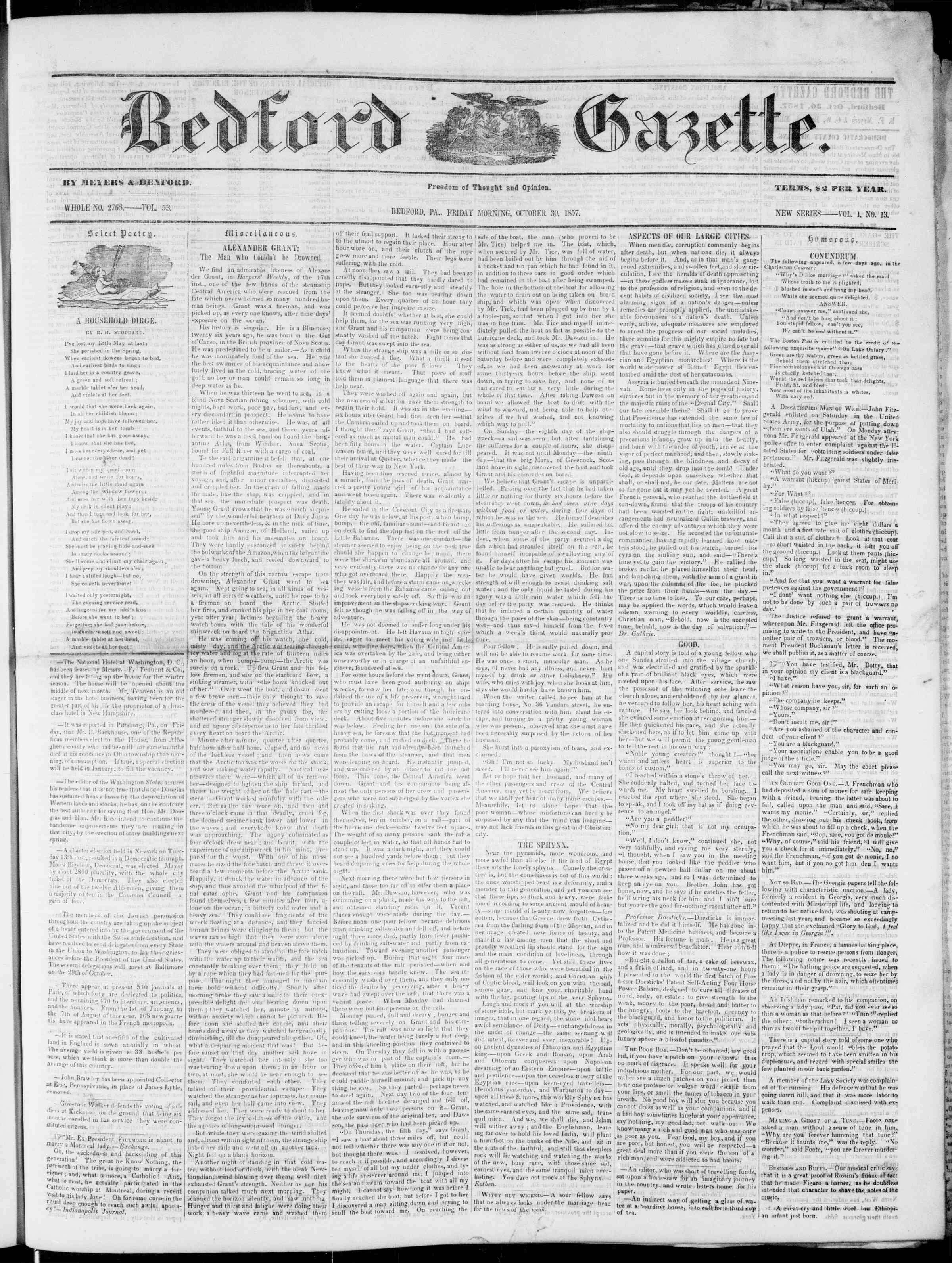 Newspaper of Bedford Gazette dated October 30, 1857 Page 1