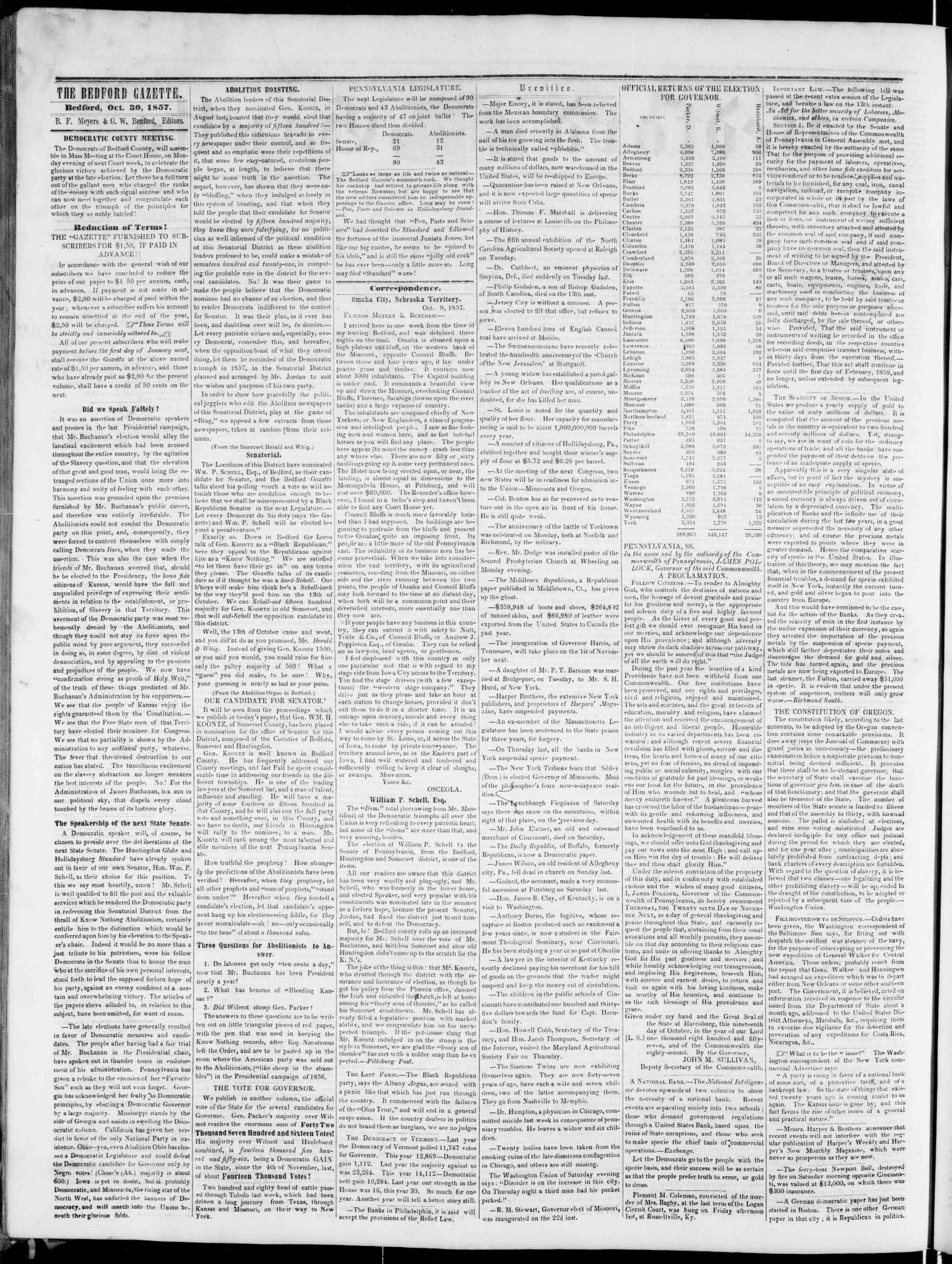 Newspaper of Bedford Gazette dated October 30, 1857 Page 2