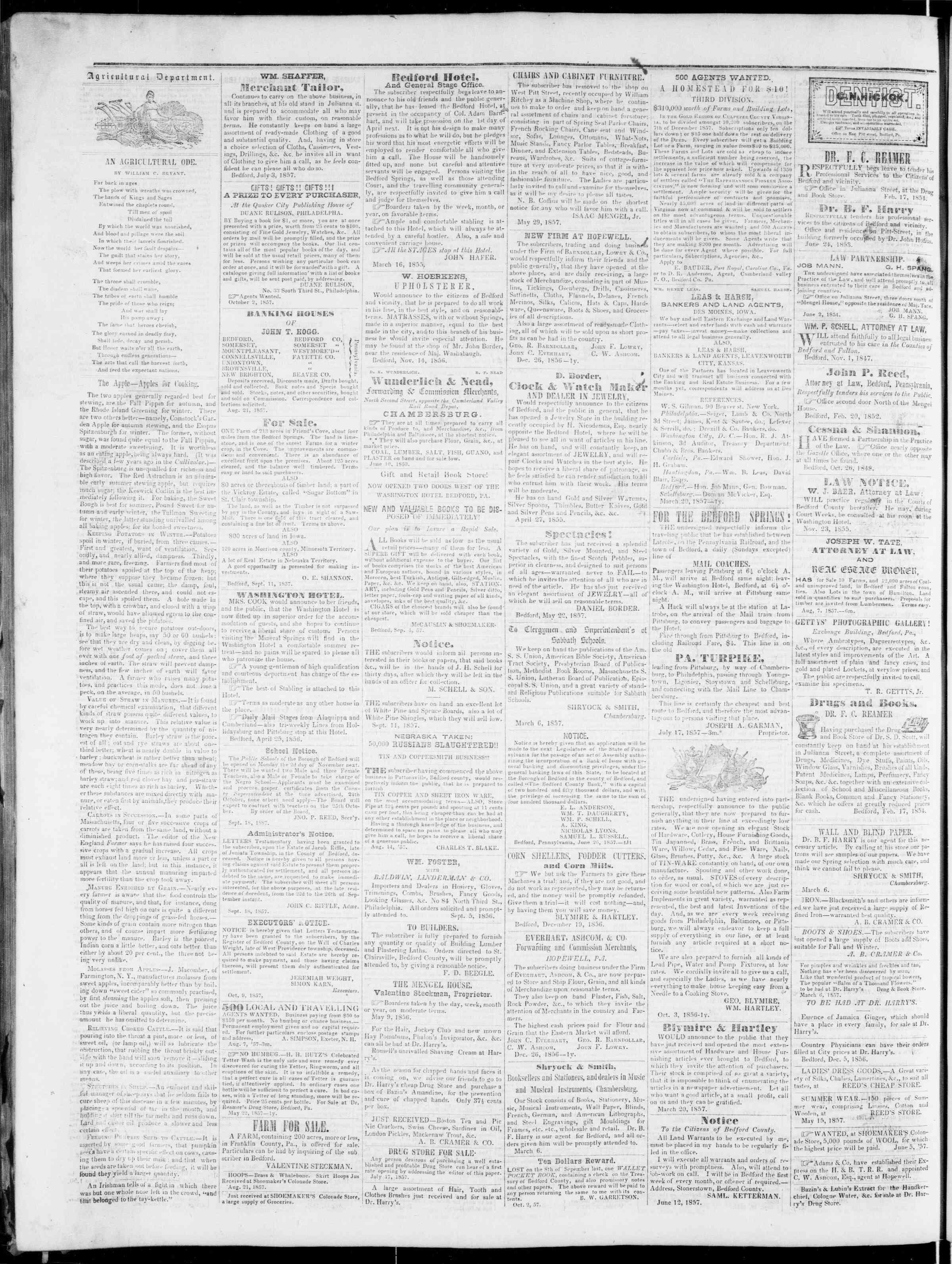 Newspaper of Bedford Gazette dated October 30, 1857 Page 4