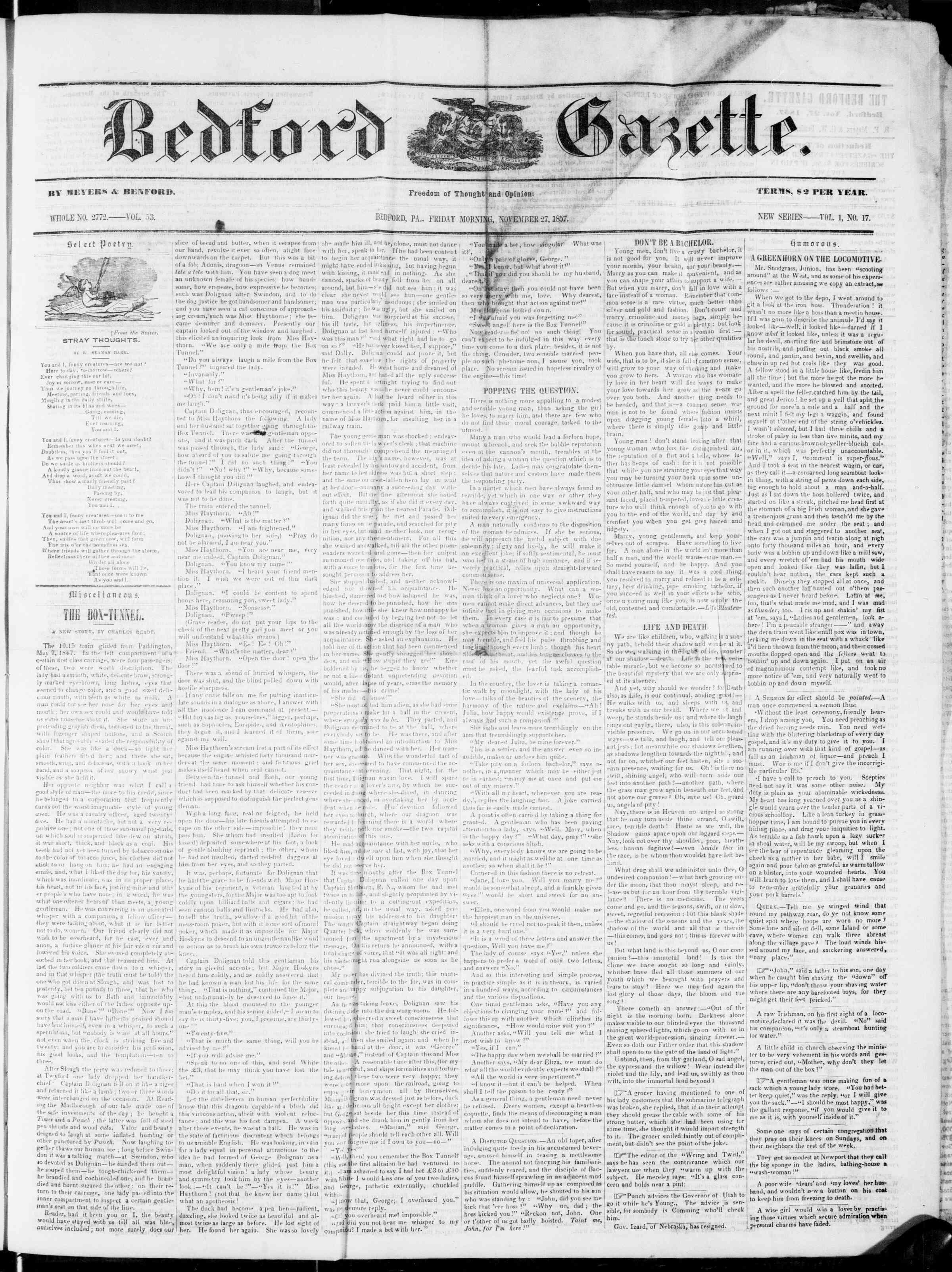 Newspaper of Bedford Gazette dated November 27, 1857 Page 1