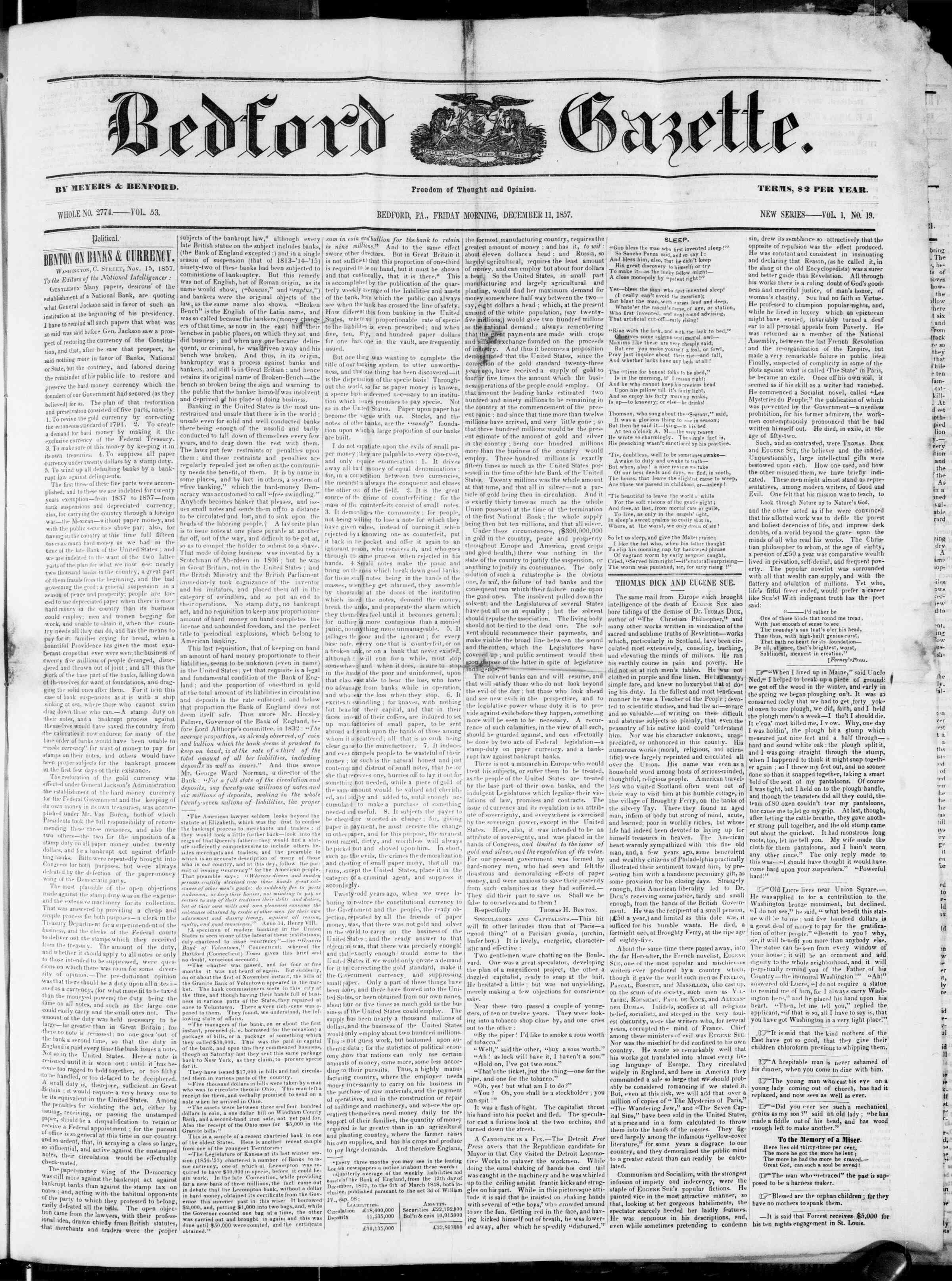 Newspaper of Bedford Gazette dated December 11, 1857 Page 1