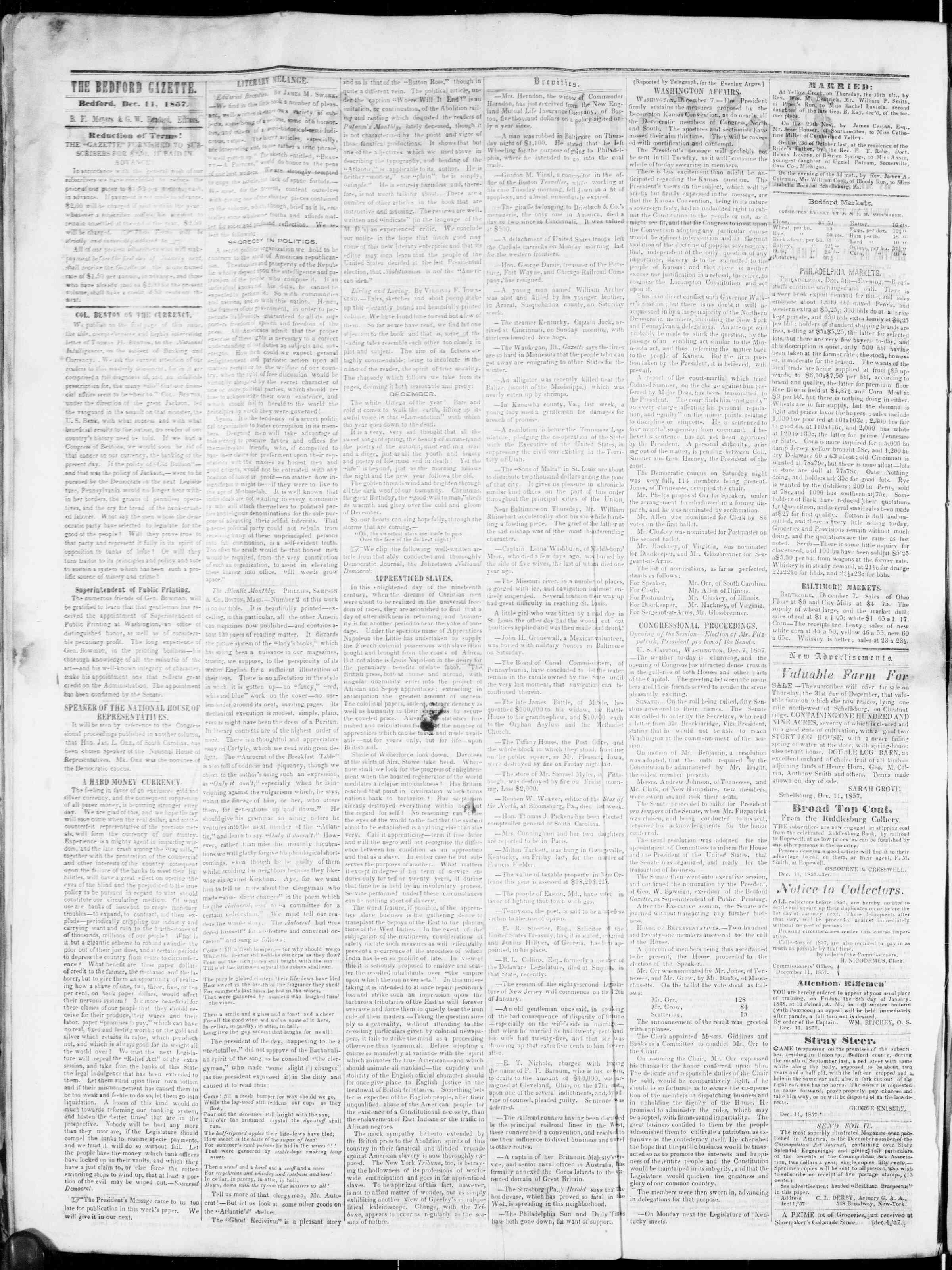 Newspaper of Bedford Gazette dated December 11, 1857 Page 3