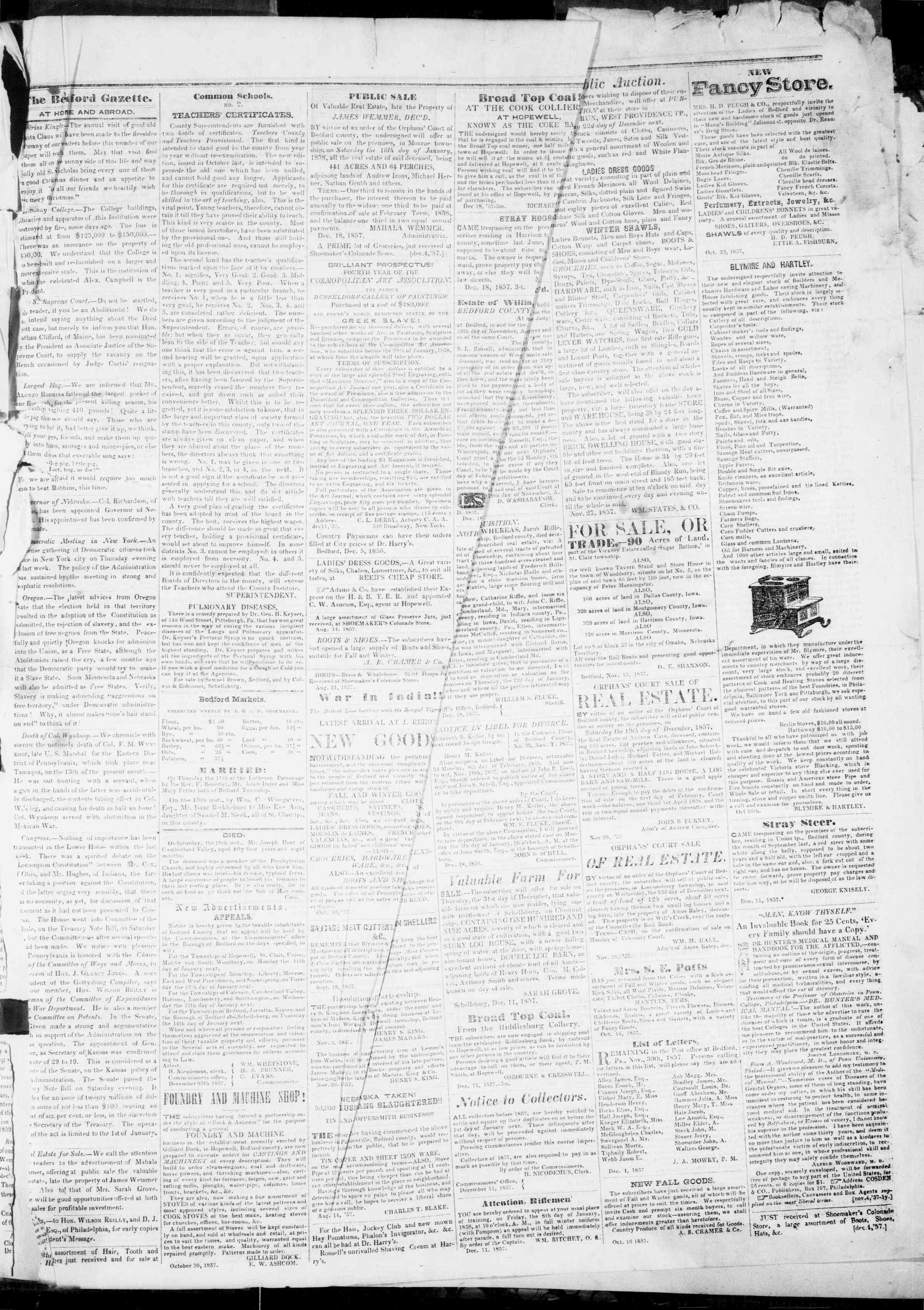 Newspaper of Bedford Gazette dated December 25, 1857 Page 3
