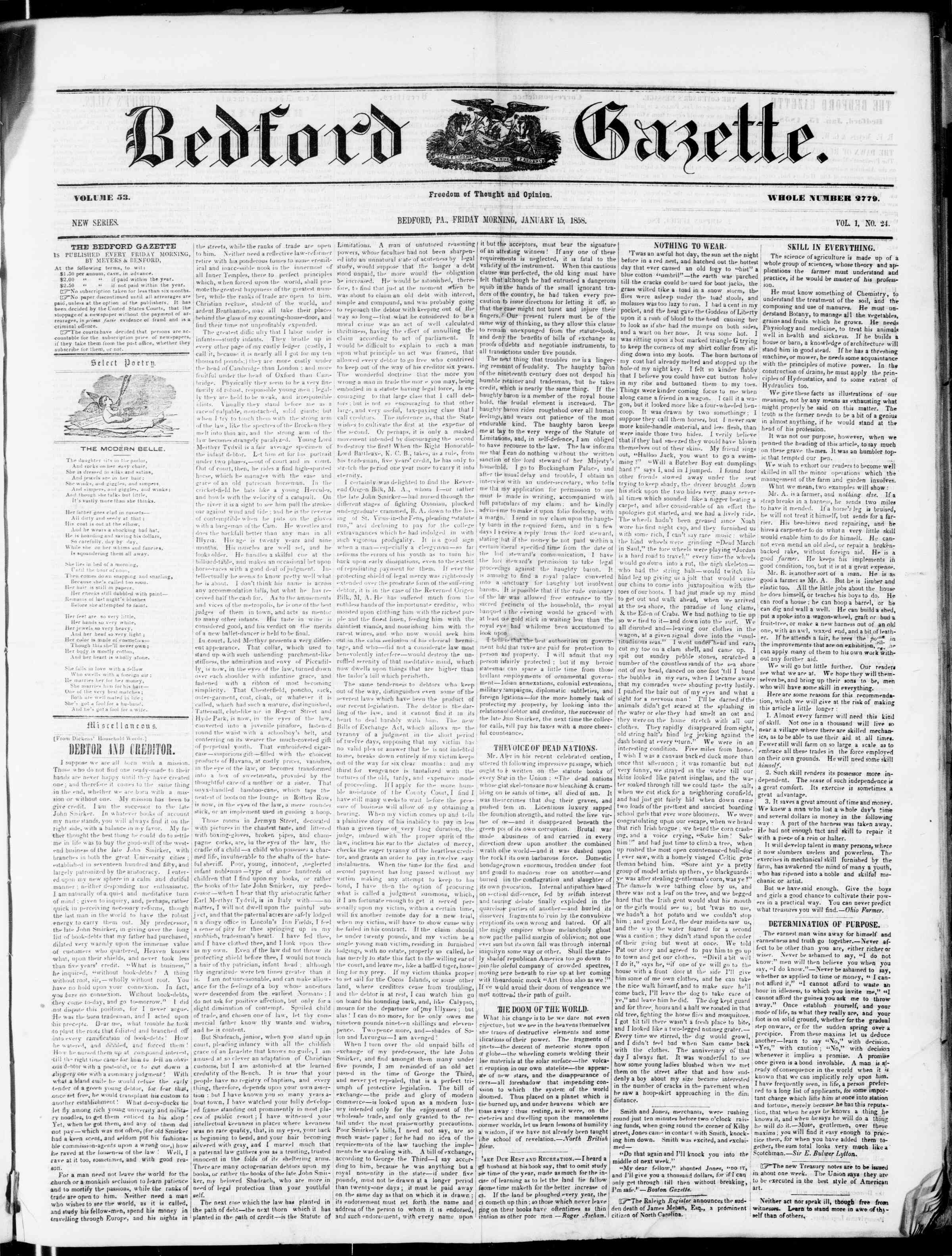 Newspaper of Bedford Gazette dated January 15, 1858 Page 1