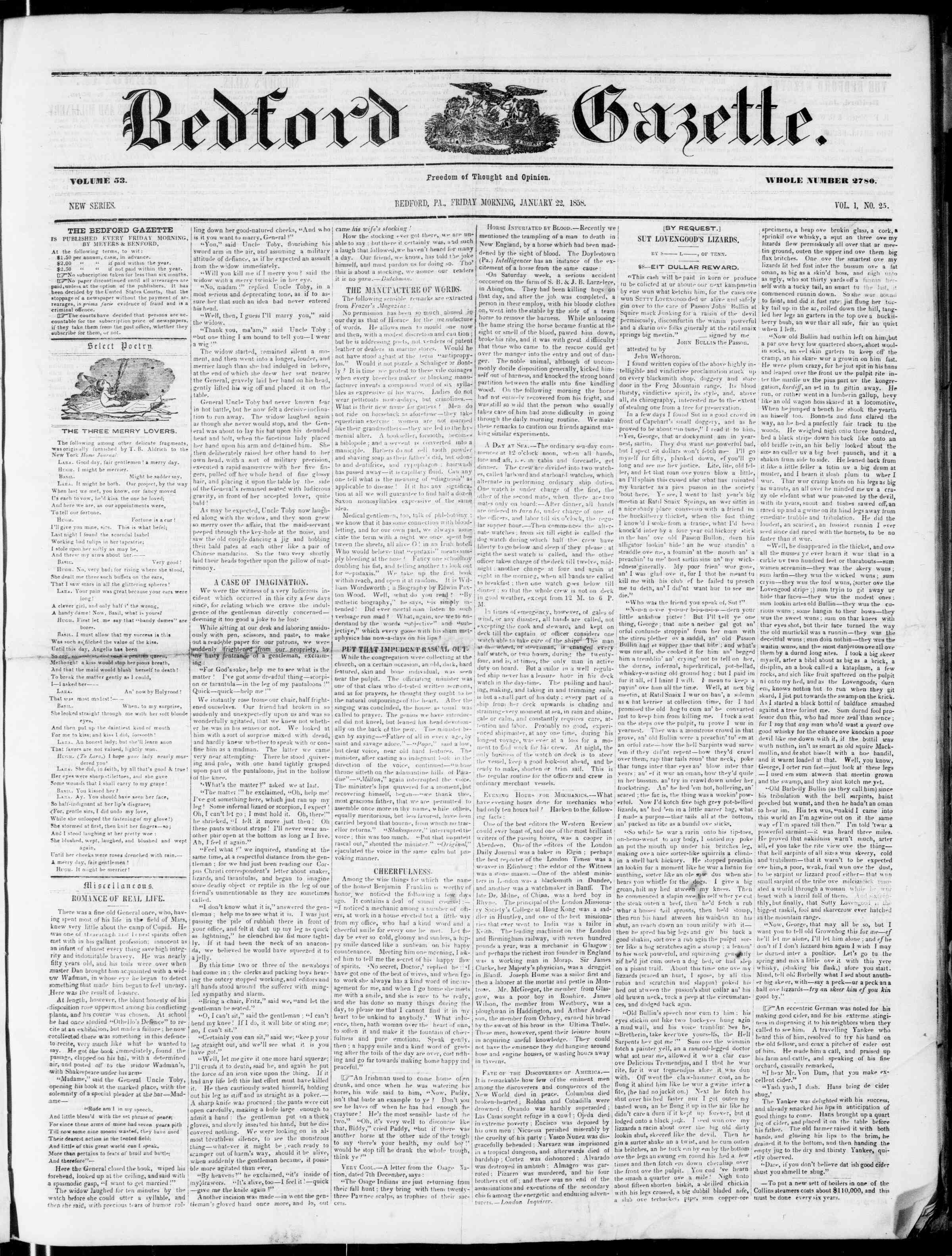 Newspaper of Bedford Gazette dated January 22, 1858 Page 1