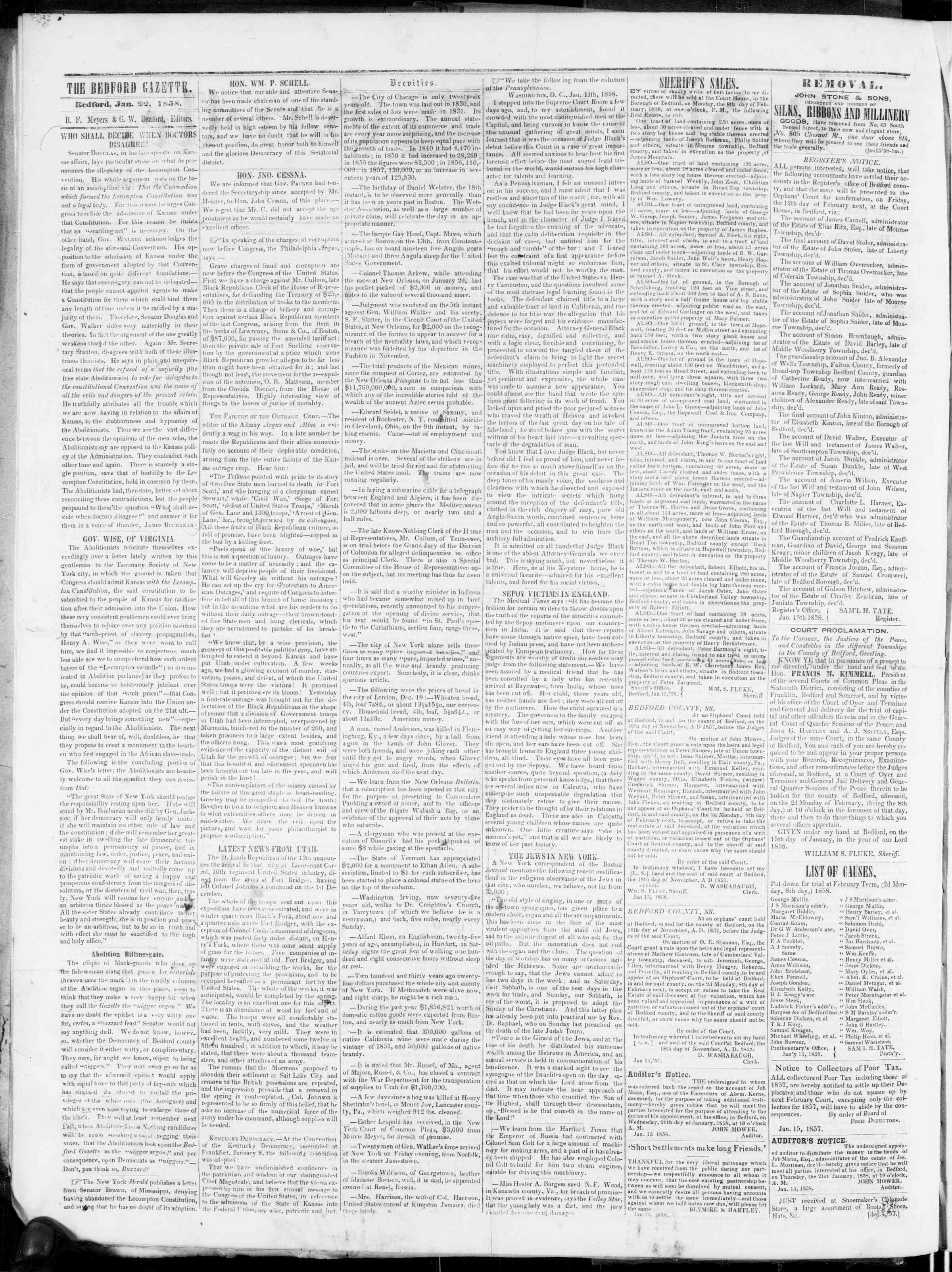 Newspaper of Bedford Gazette dated January 22, 1858 Page 2