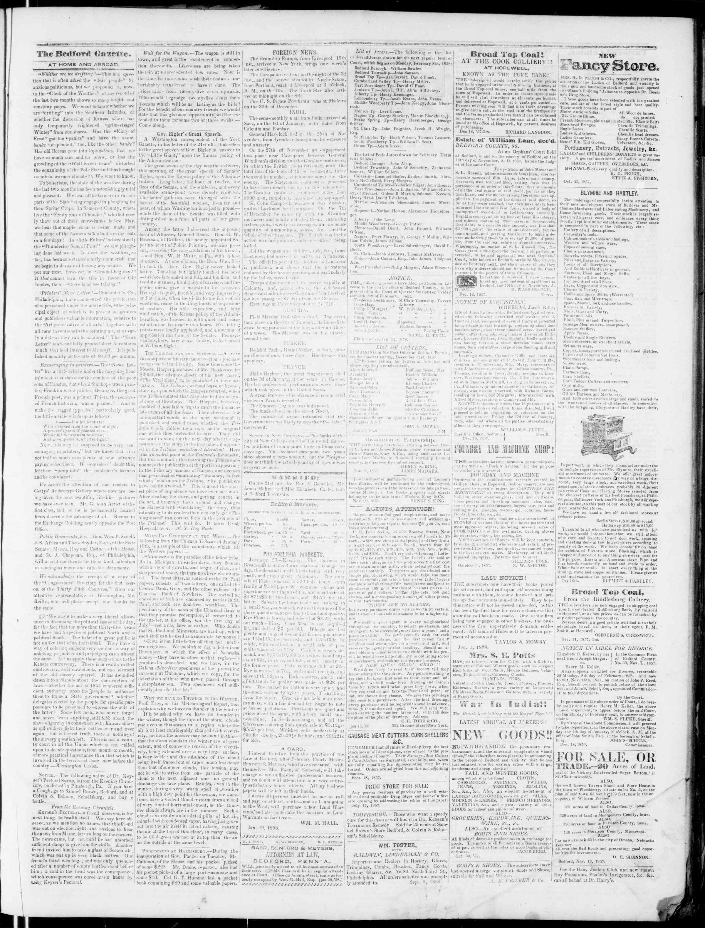Newspaper of Bedford Gazette dated January 29, 1858 Page 3