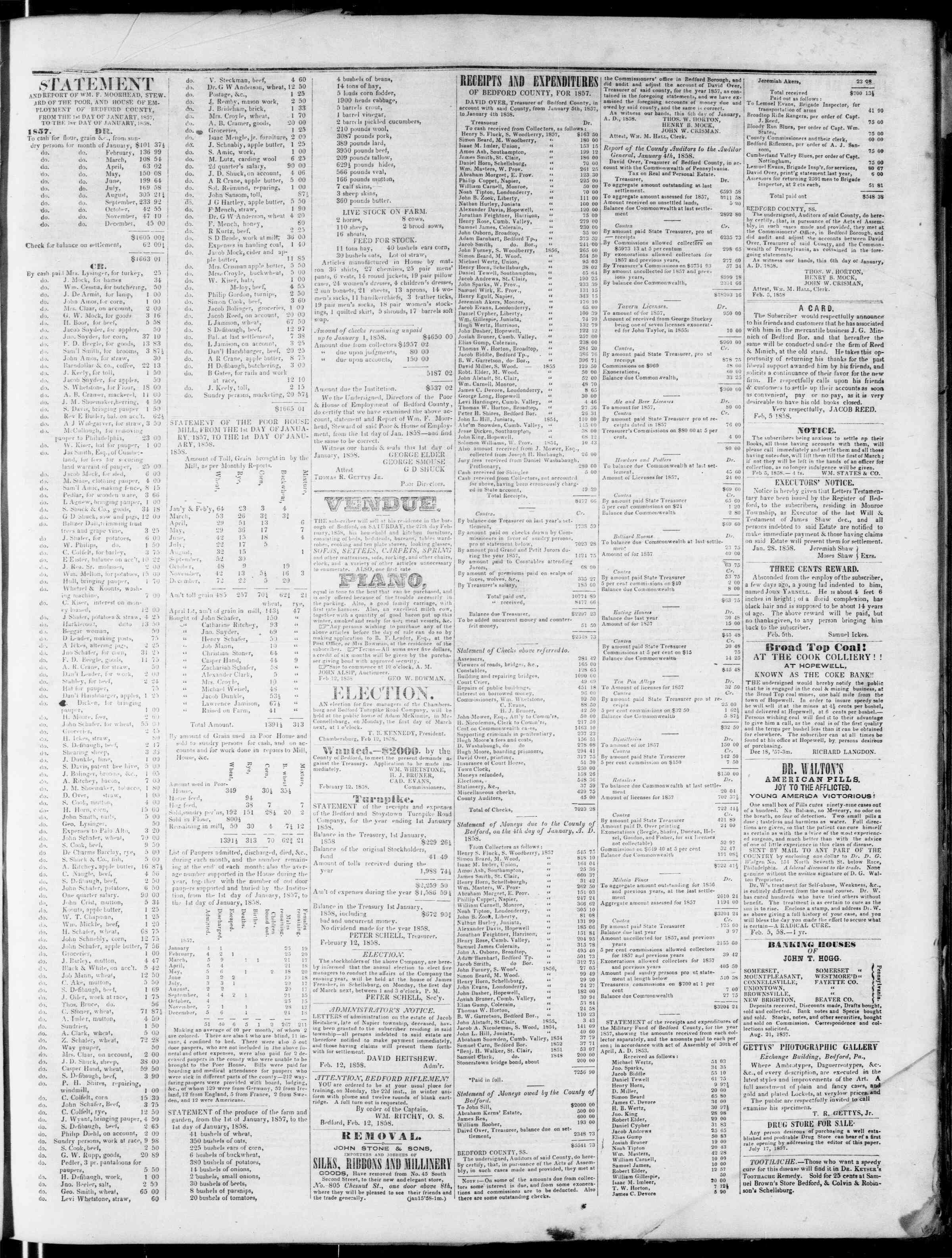 Newspaper of Bedford Gazette dated February 19, 1858 Page 3