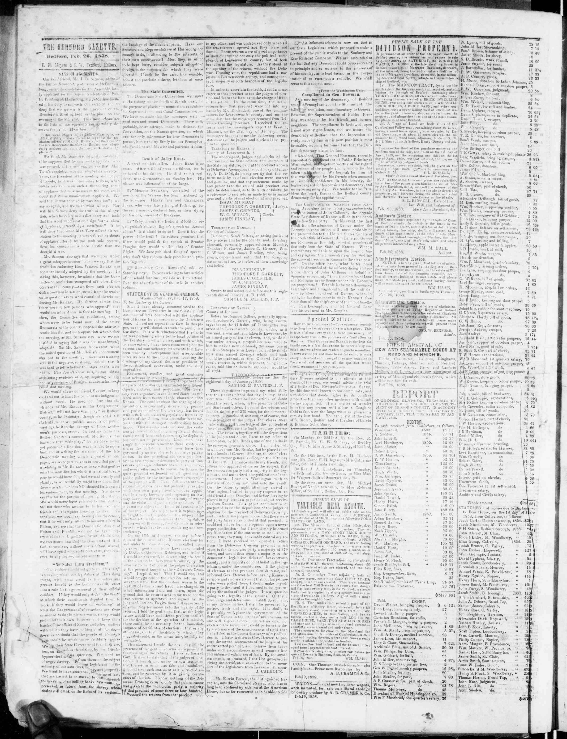 Newspaper of Bedford Gazette dated February 26, 1858 Page 2