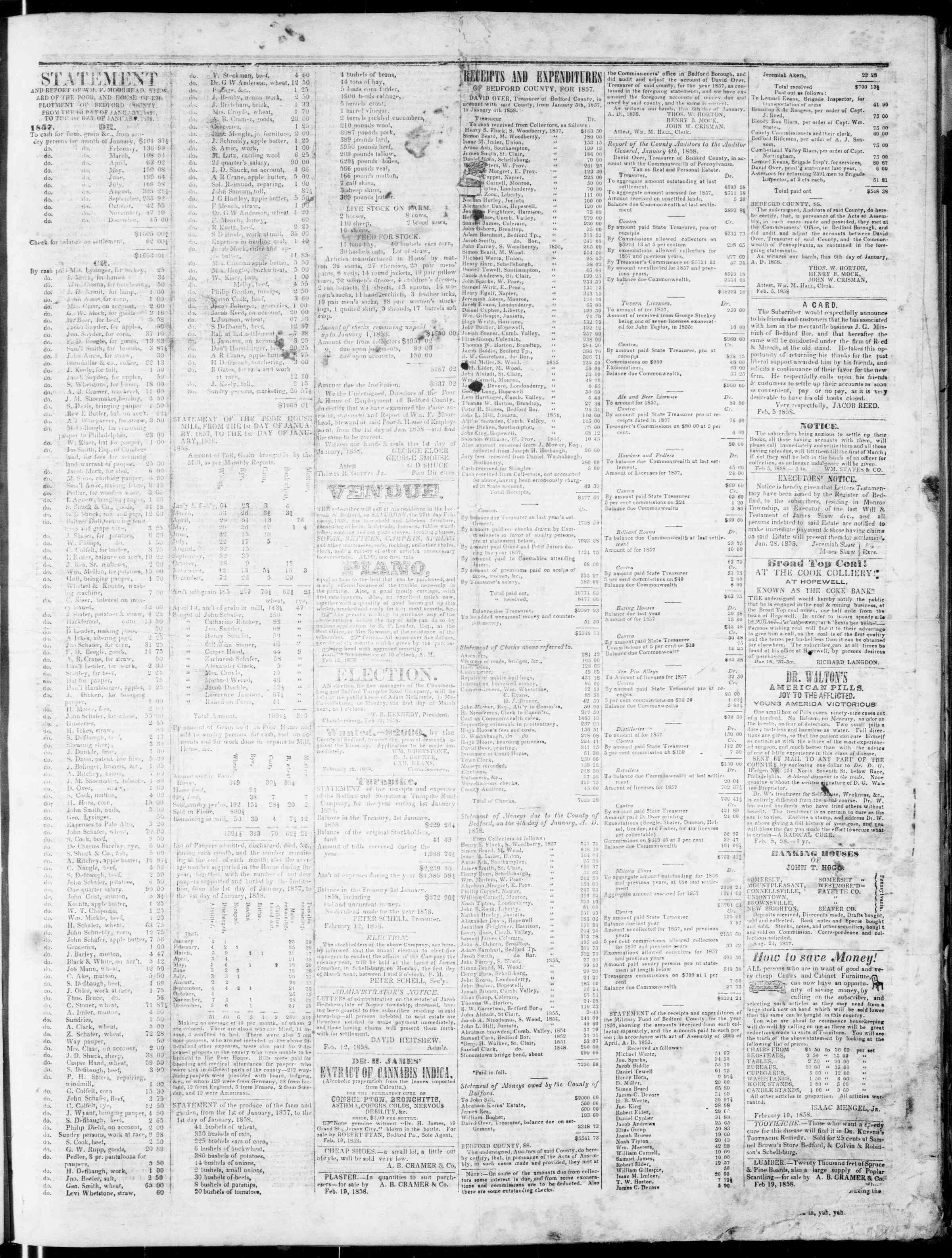 Newspaper of Bedford Gazette dated February 26, 1858 Page 3