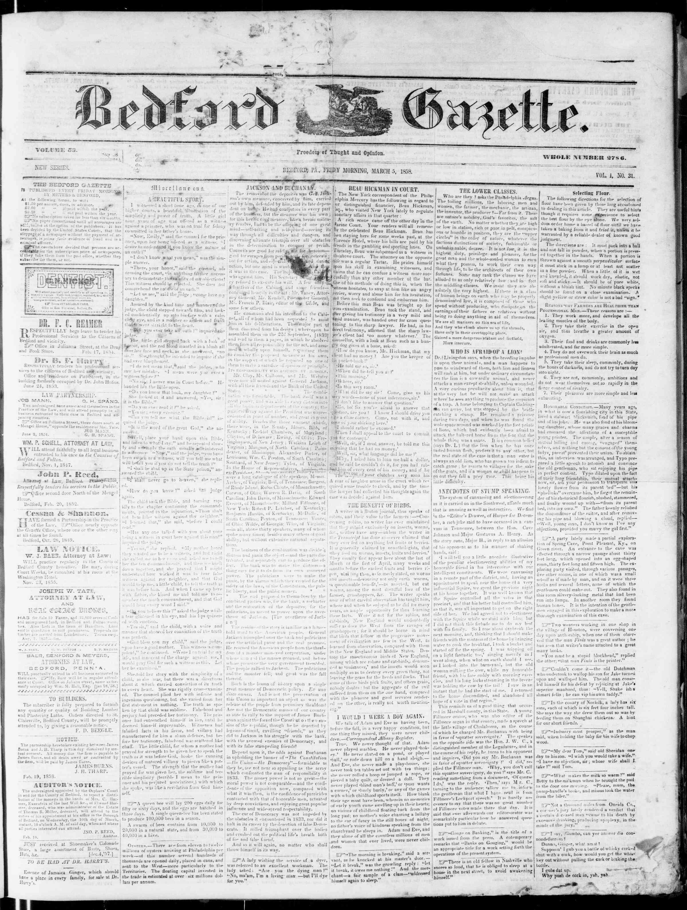 5 Mart 1858 tarihli Bedford Gazette Gazetesi Sayfa 1