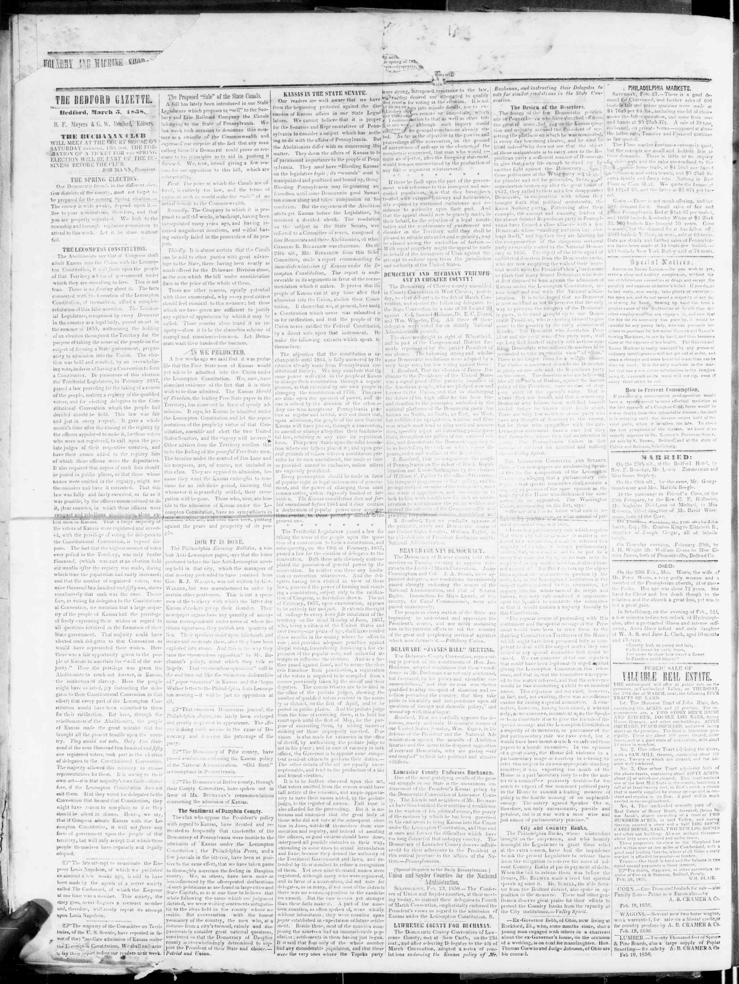 Newspaper of Bedford Gazette dated March 5, 1858 Page 2