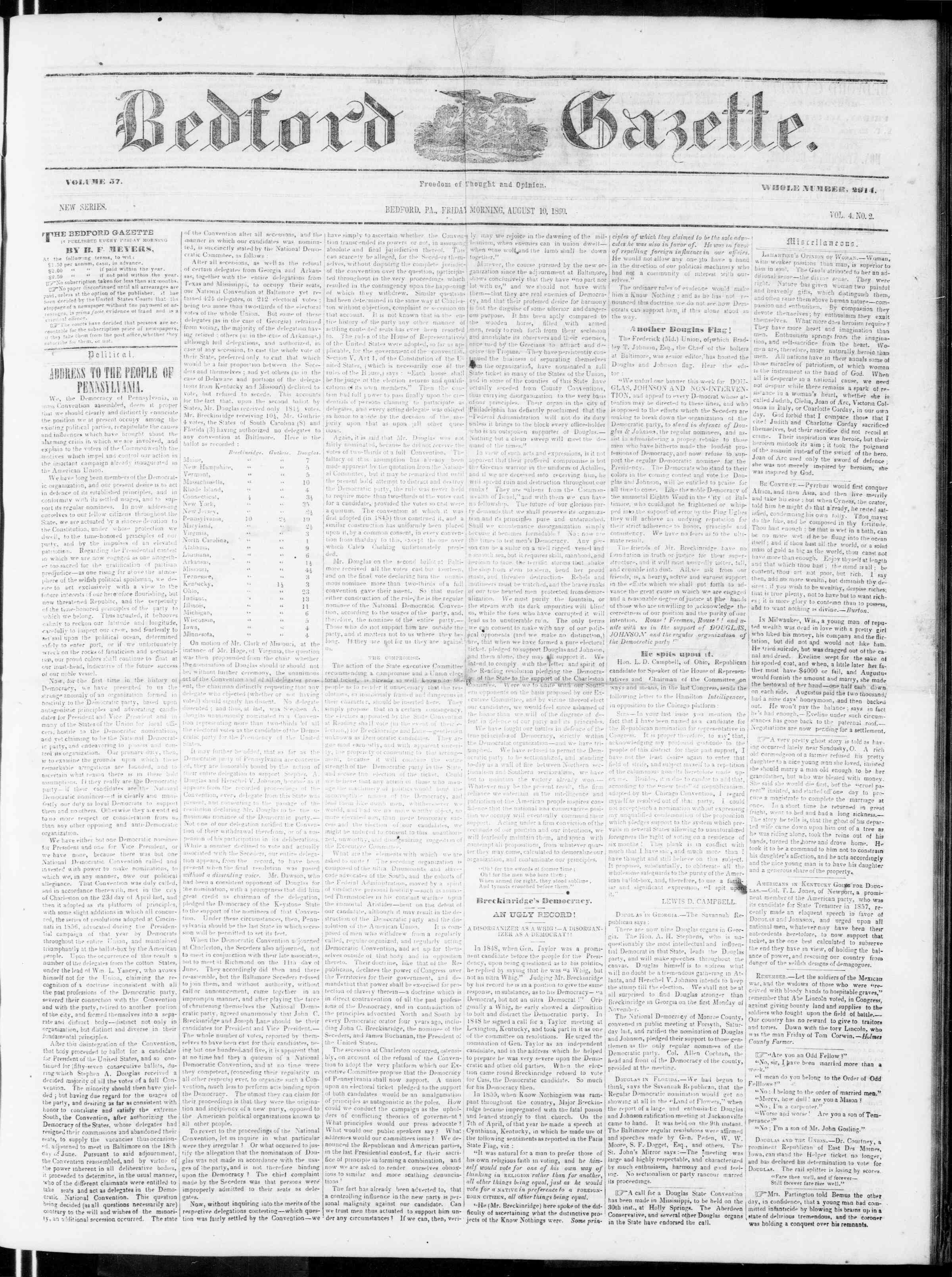 Newspaper of Bedford Gazette dated August 10, 1860 Page 1
