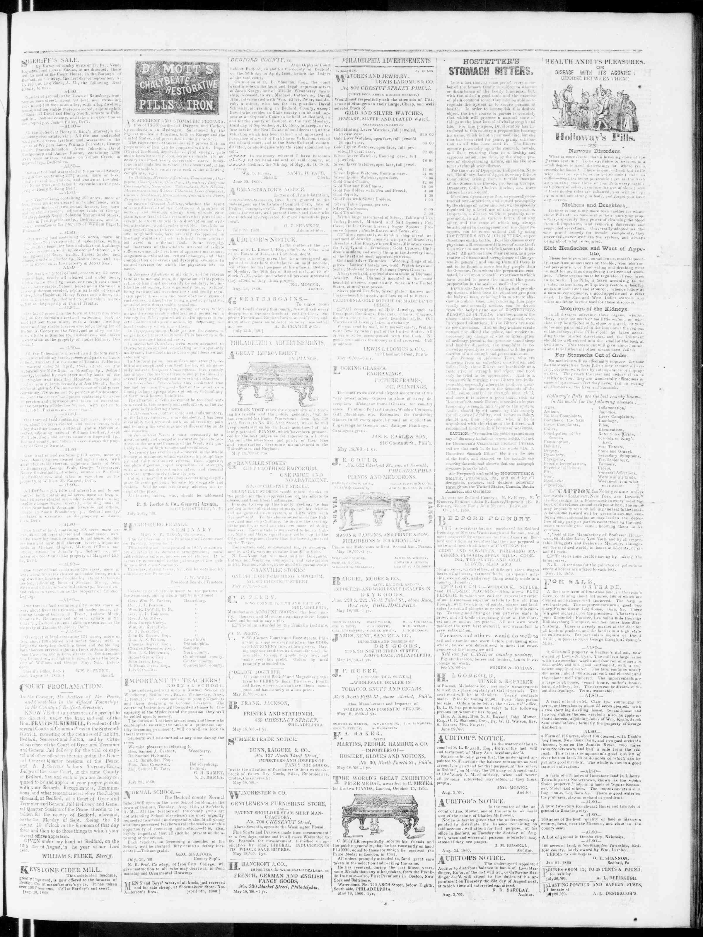 Newspaper of Bedford Gazette dated August 10, 1860 Page 3