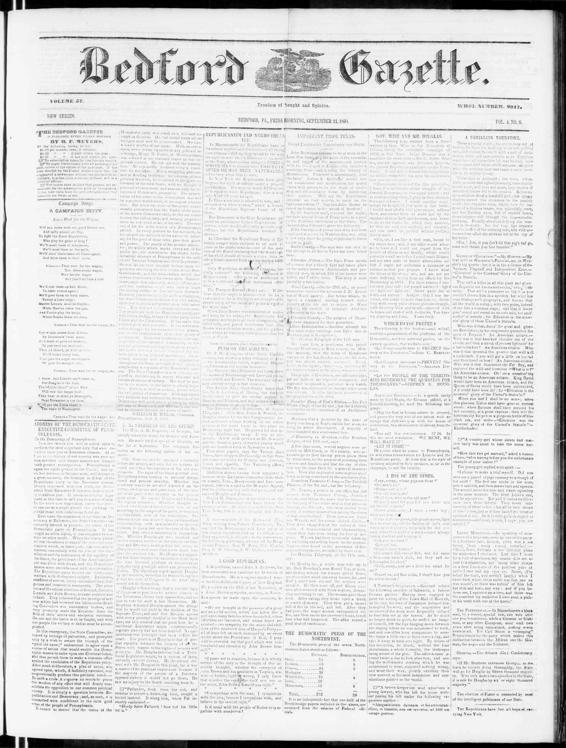 Newspaper of Bedford Gazette dated September 21, 1860 Page 1