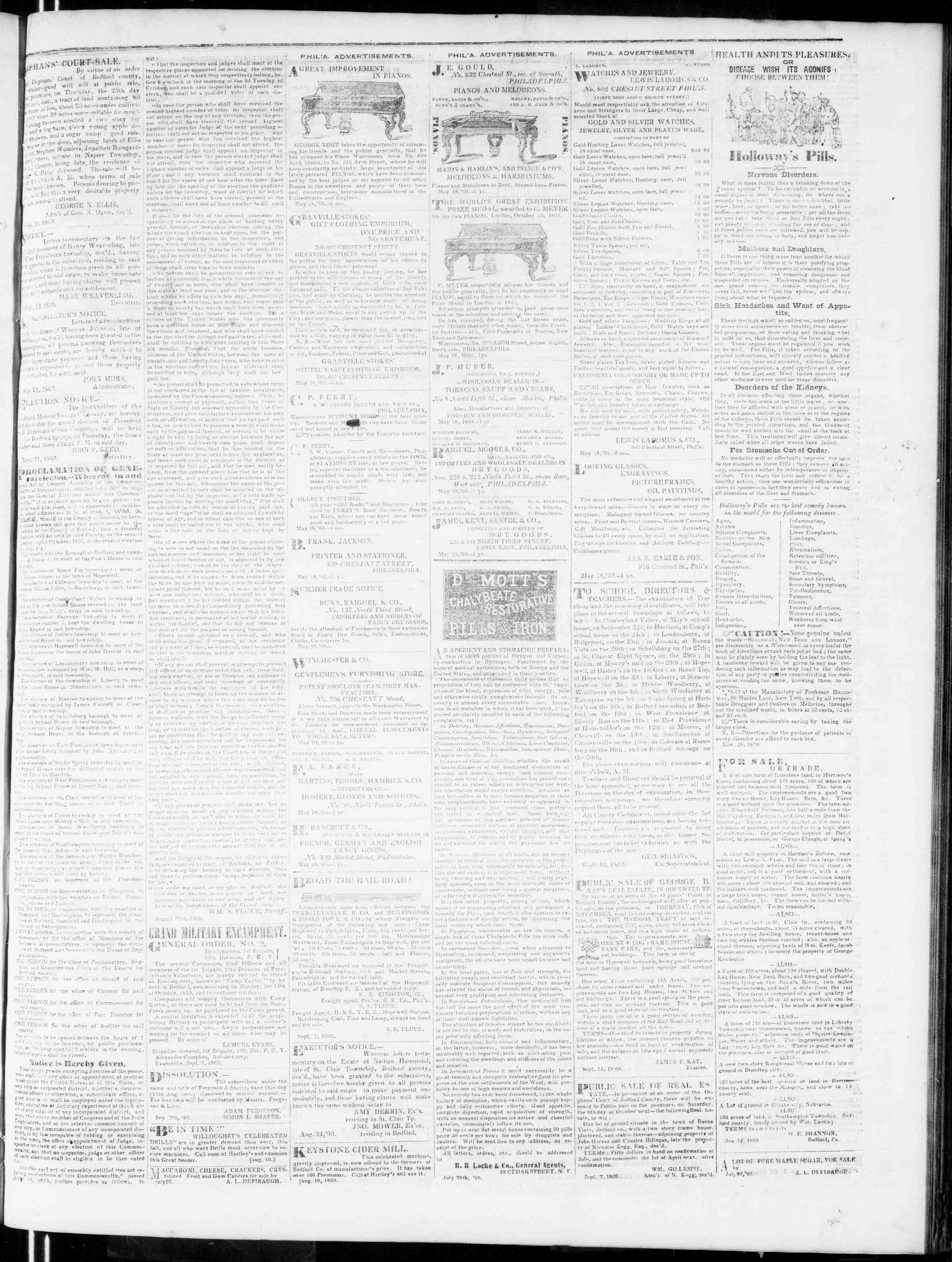 Newspaper of Bedford Gazette dated September 21, 1860 Page 3