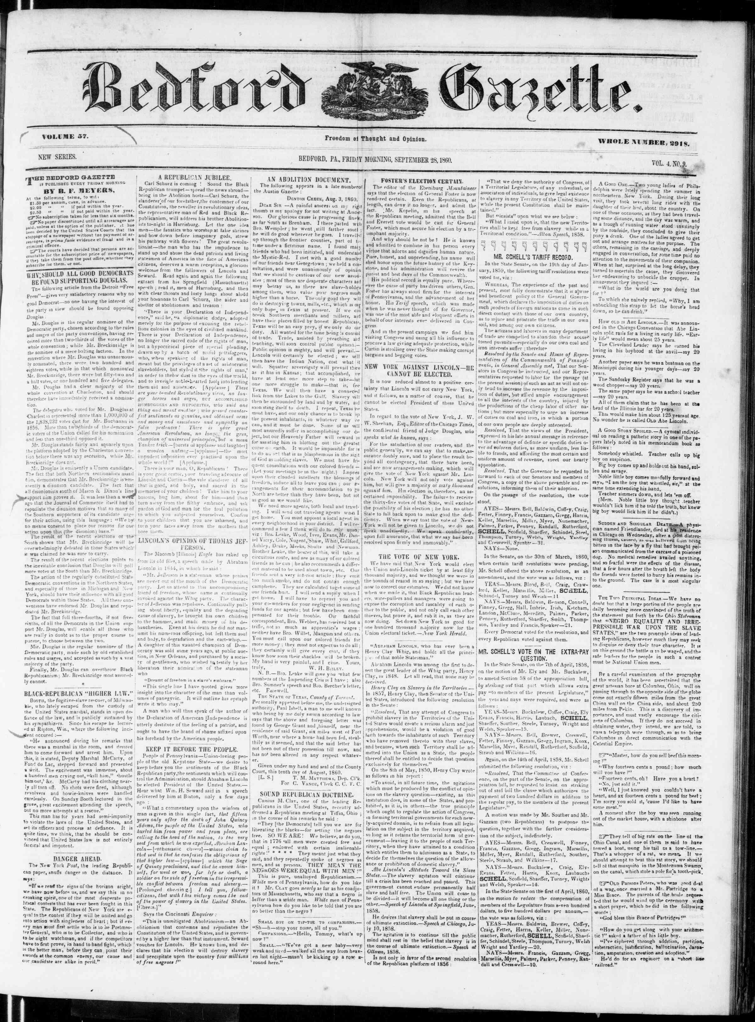 Newspaper of Bedford Gazette dated September 28, 1860 Page 1