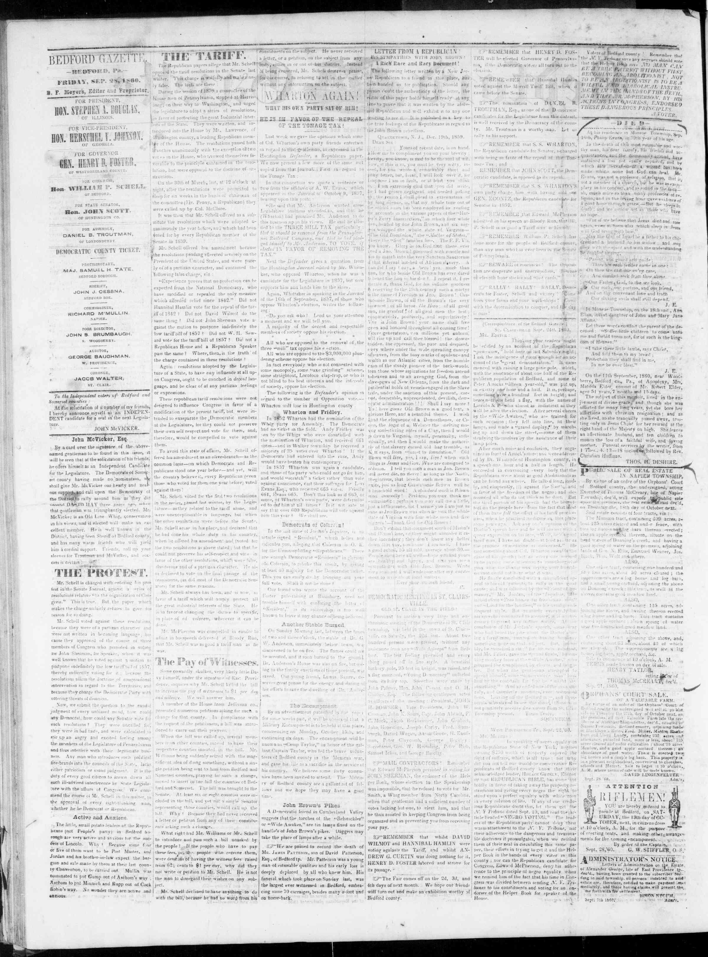 Newspaper of Bedford Gazette dated September 28, 1860 Page 2