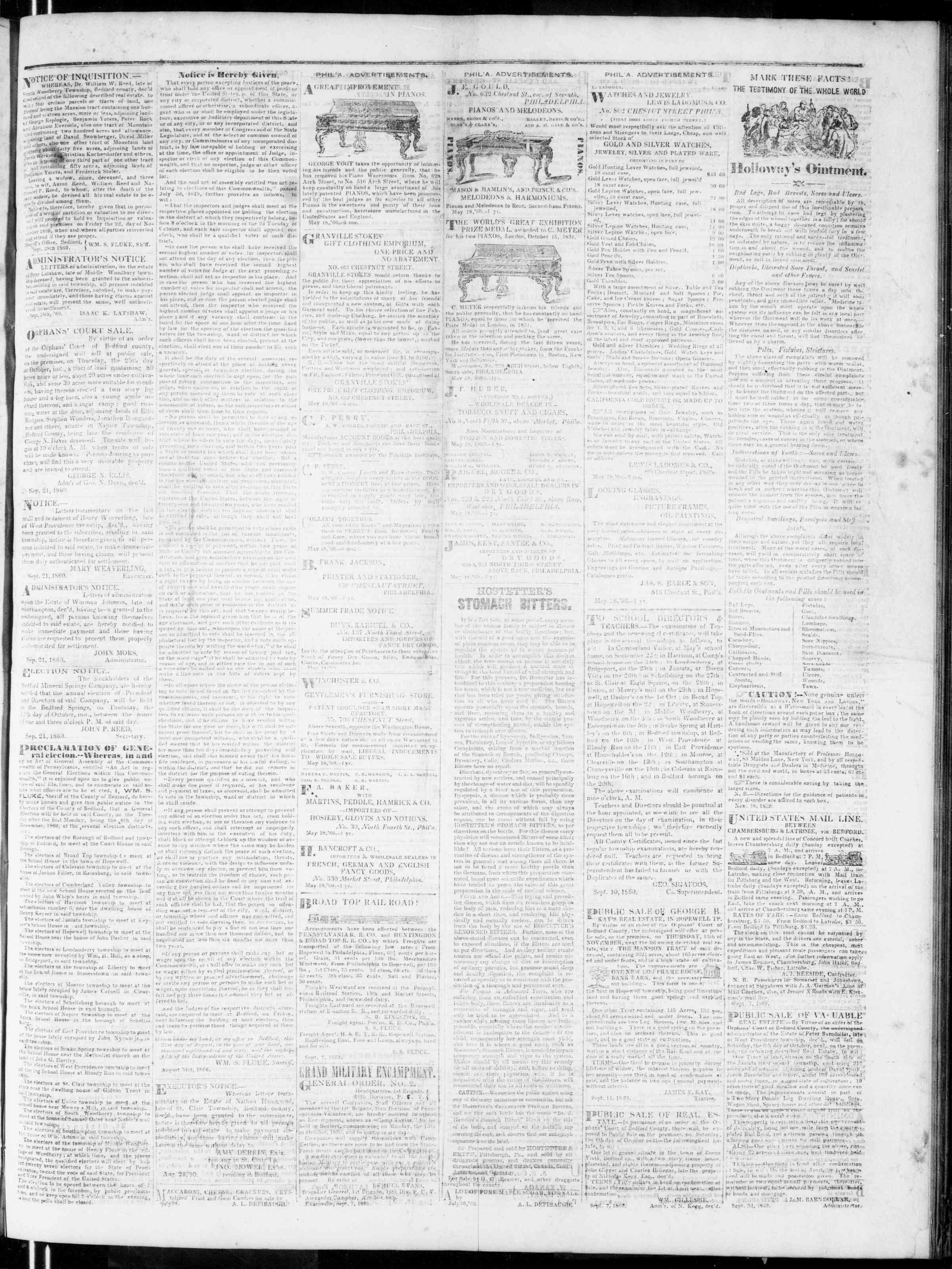Newspaper of Bedford Gazette dated September 28, 1860 Page 3