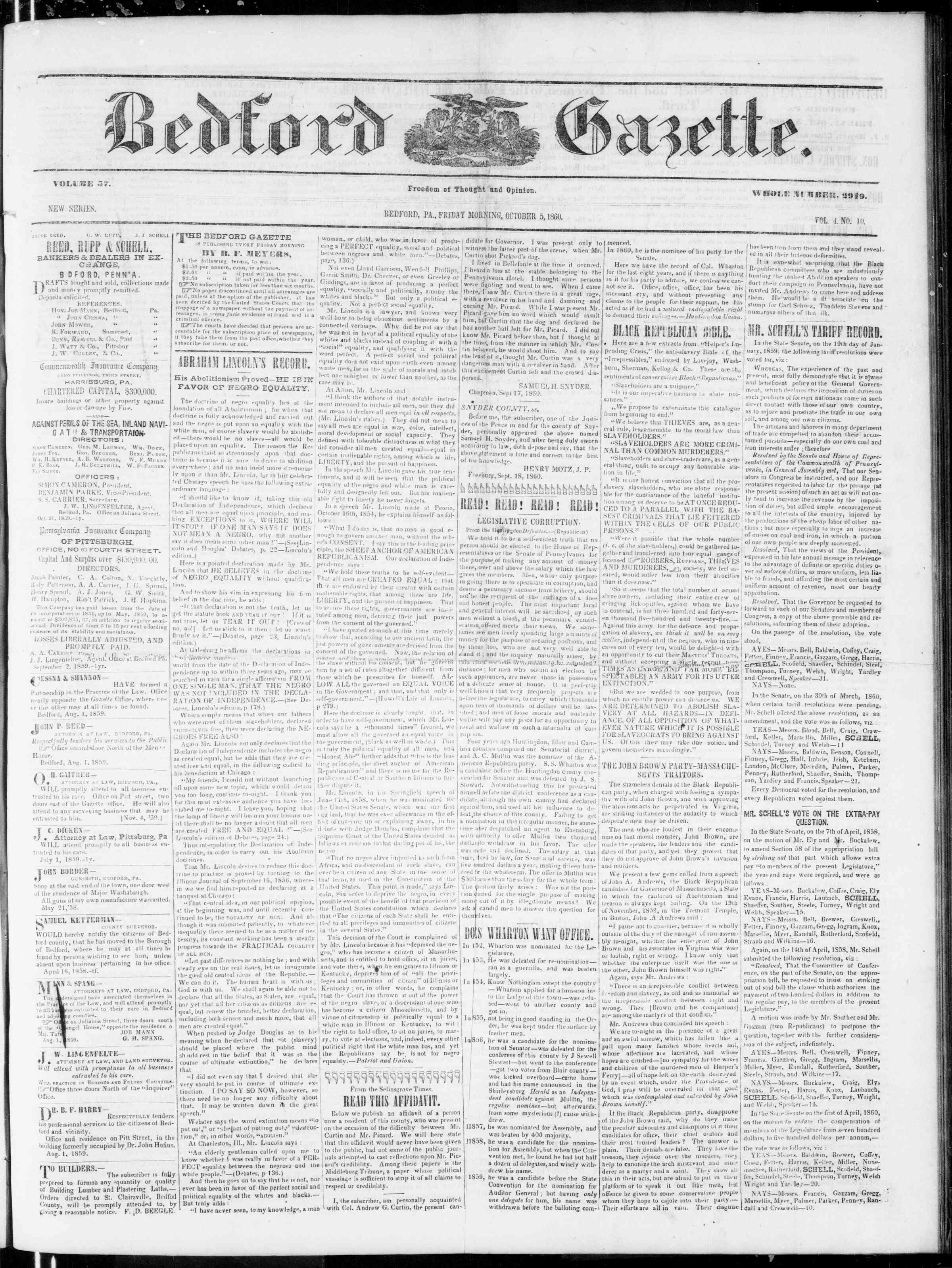 Newspaper of Bedford Gazette dated October 5, 1860 Page 1
