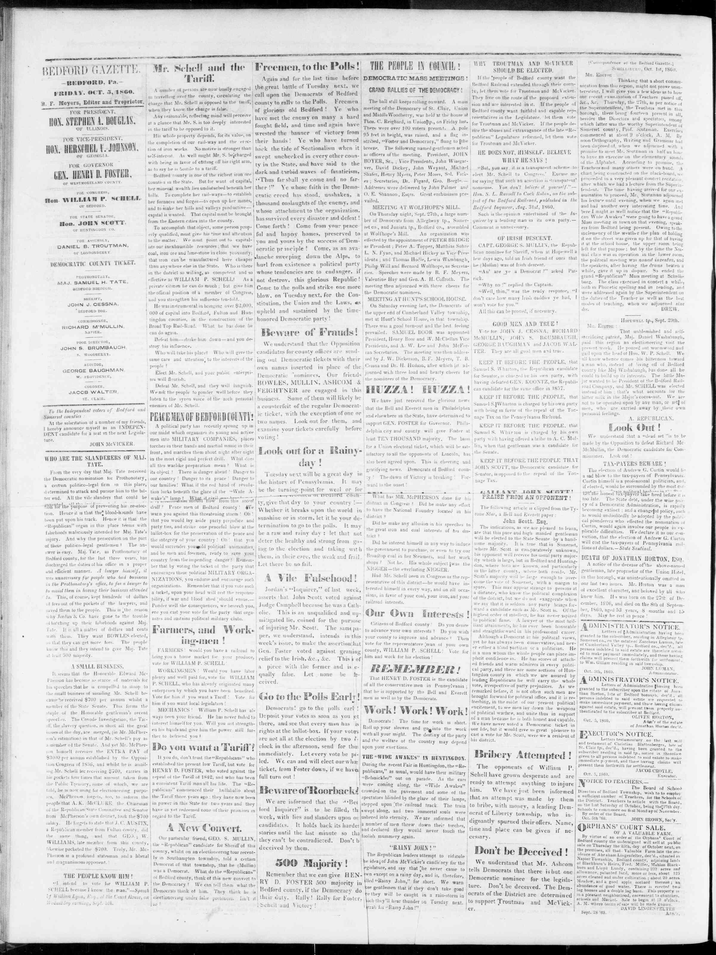 Newspaper of Bedford Gazette dated October 5, 1860 Page 2