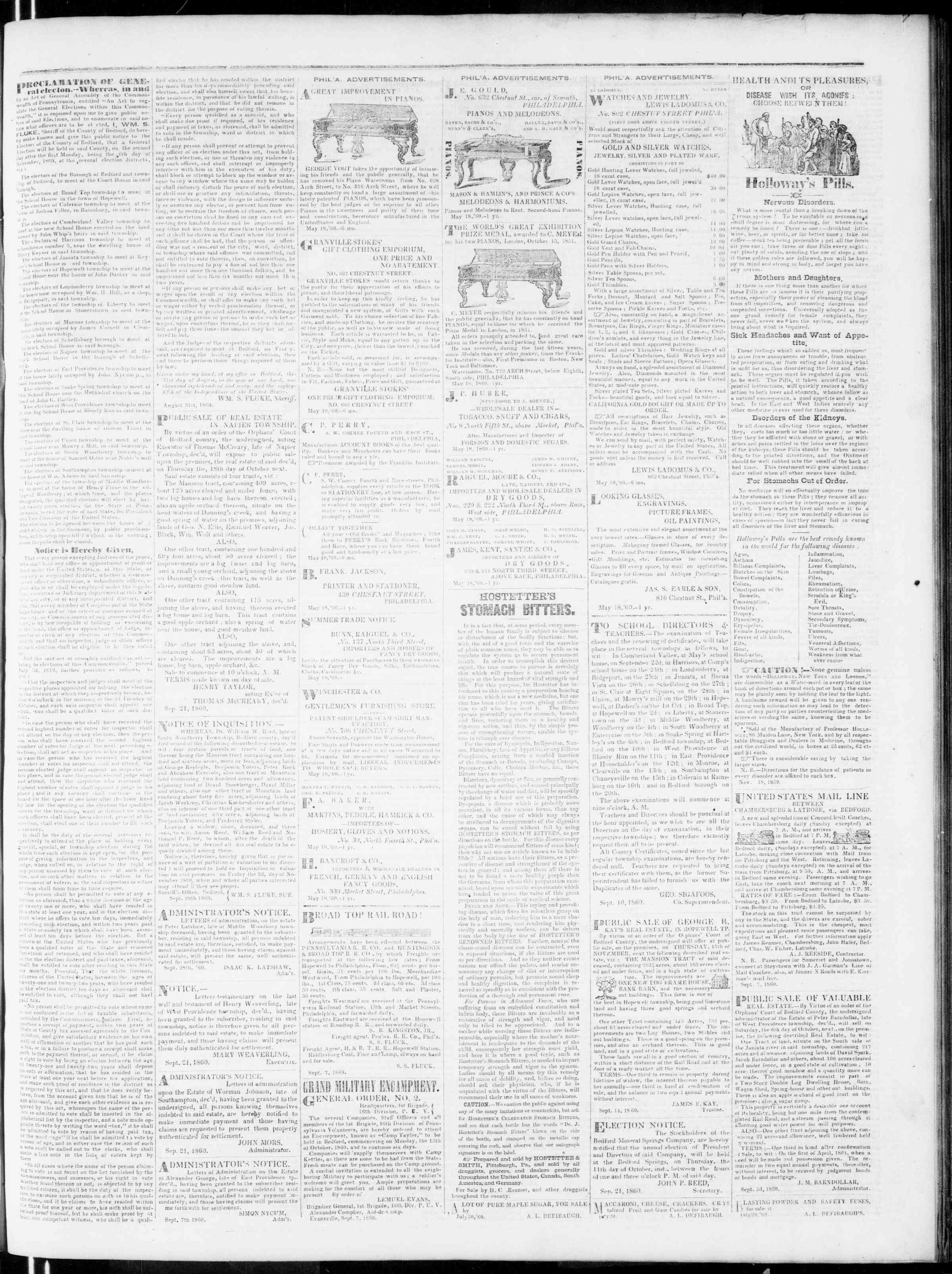 Newspaper of Bedford Gazette dated 5 Ekim 1860 Page 3
