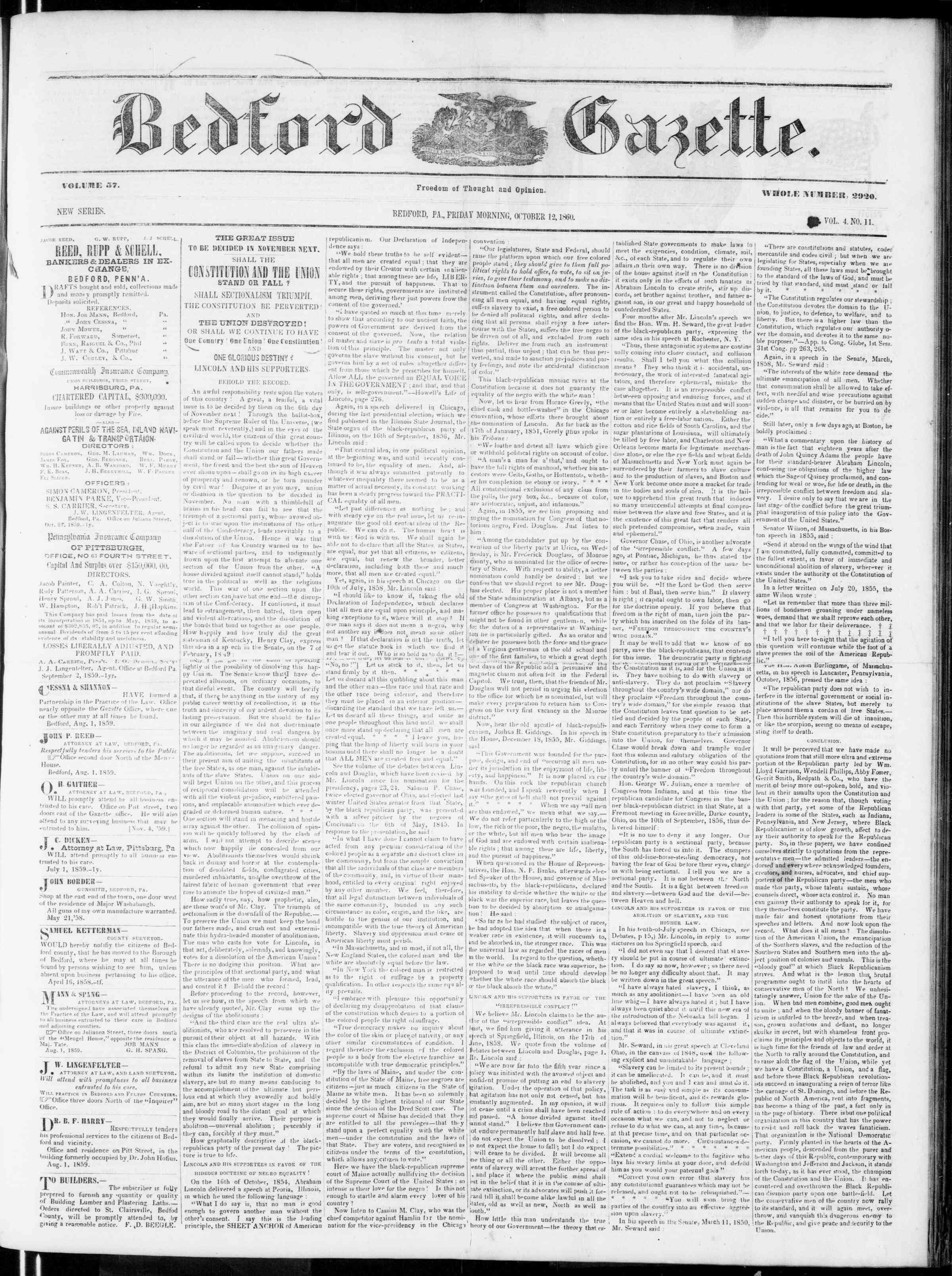 Newspaper of Bedford Gazette dated October 12, 1860 Page 1
