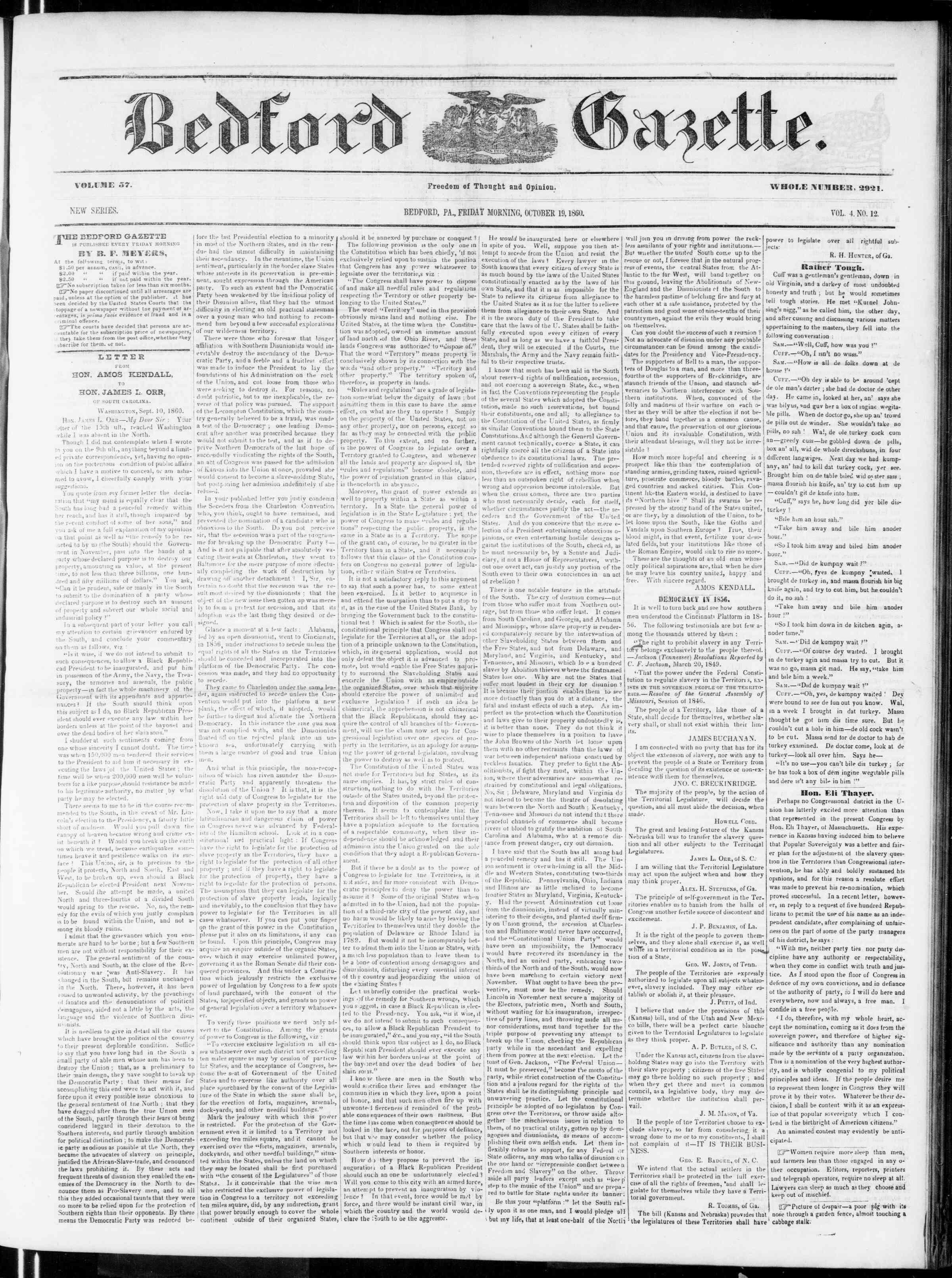 Newspaper of Bedford Gazette dated 19 Ekim 1860 Page 1