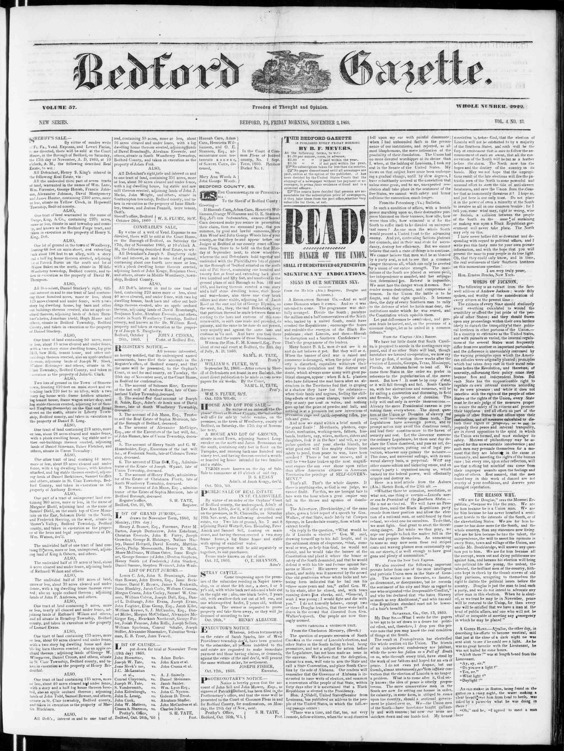 Newspaper of Bedford Gazette dated November 2, 1860 Page 1