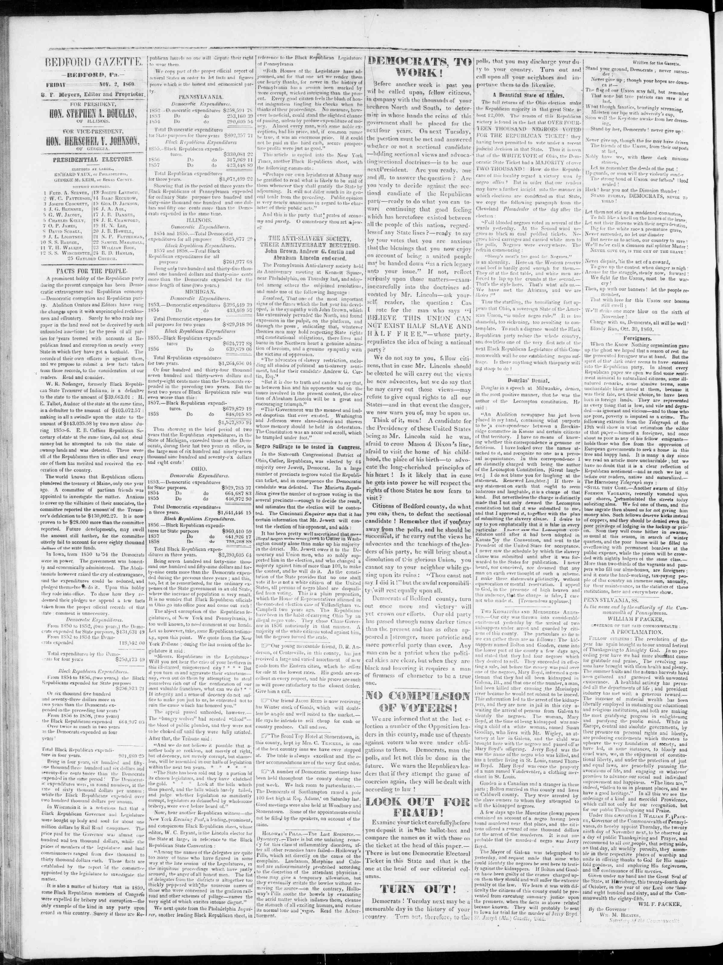 Newspaper of Bedford Gazette dated November 2, 1860 Page 2