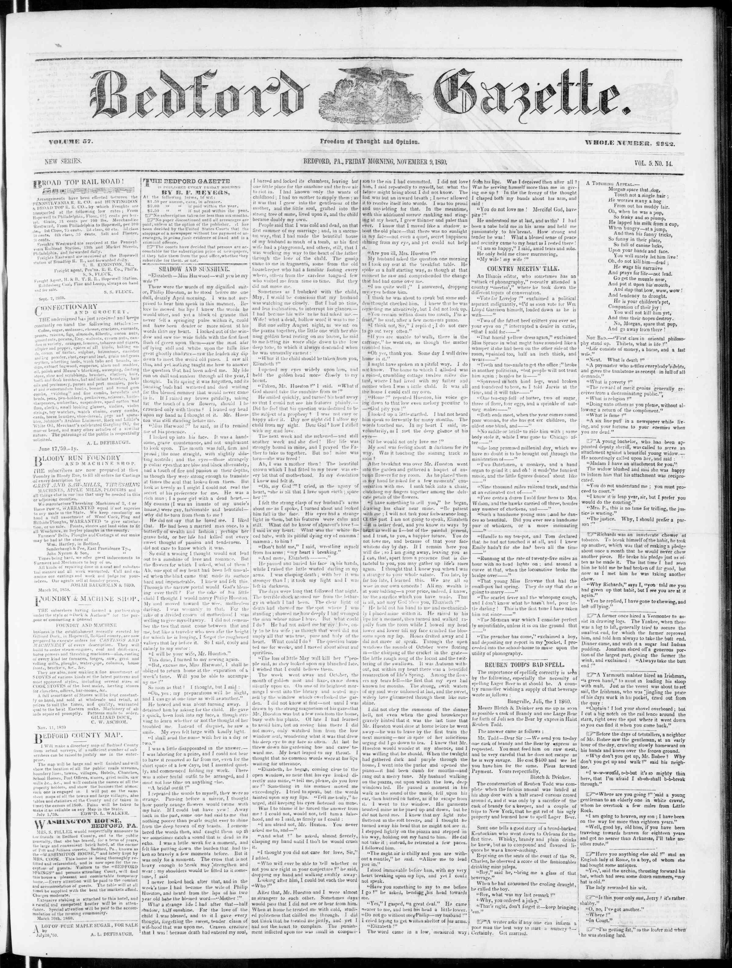 Newspaper of Bedford Gazette dated November 9, 1860 Page 1