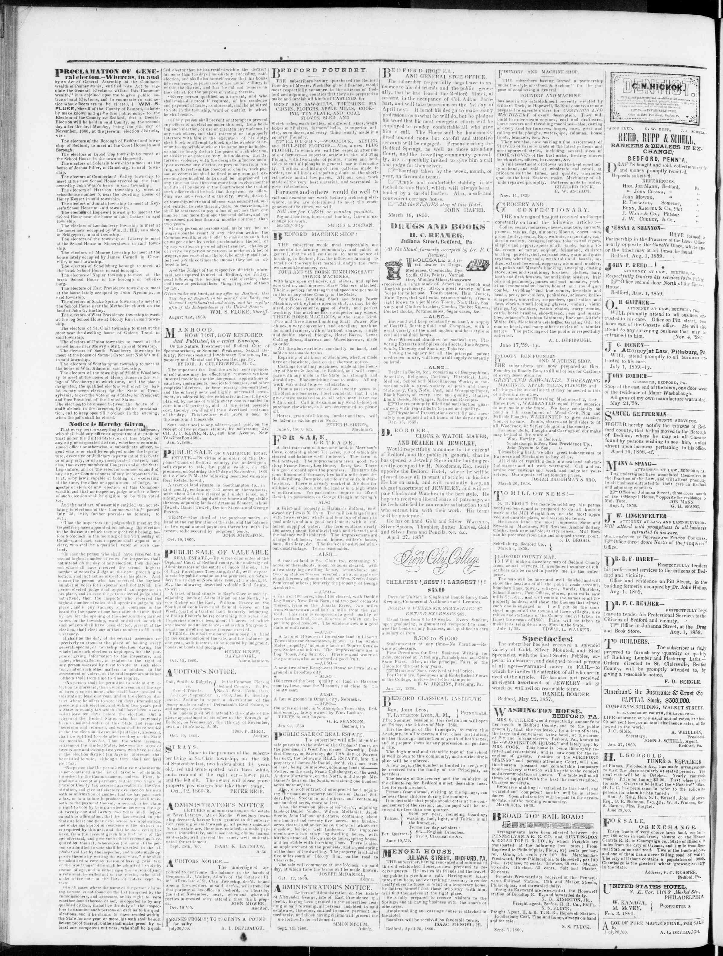 Newspaper of Bedford Gazette dated November 9, 1860 Page 2