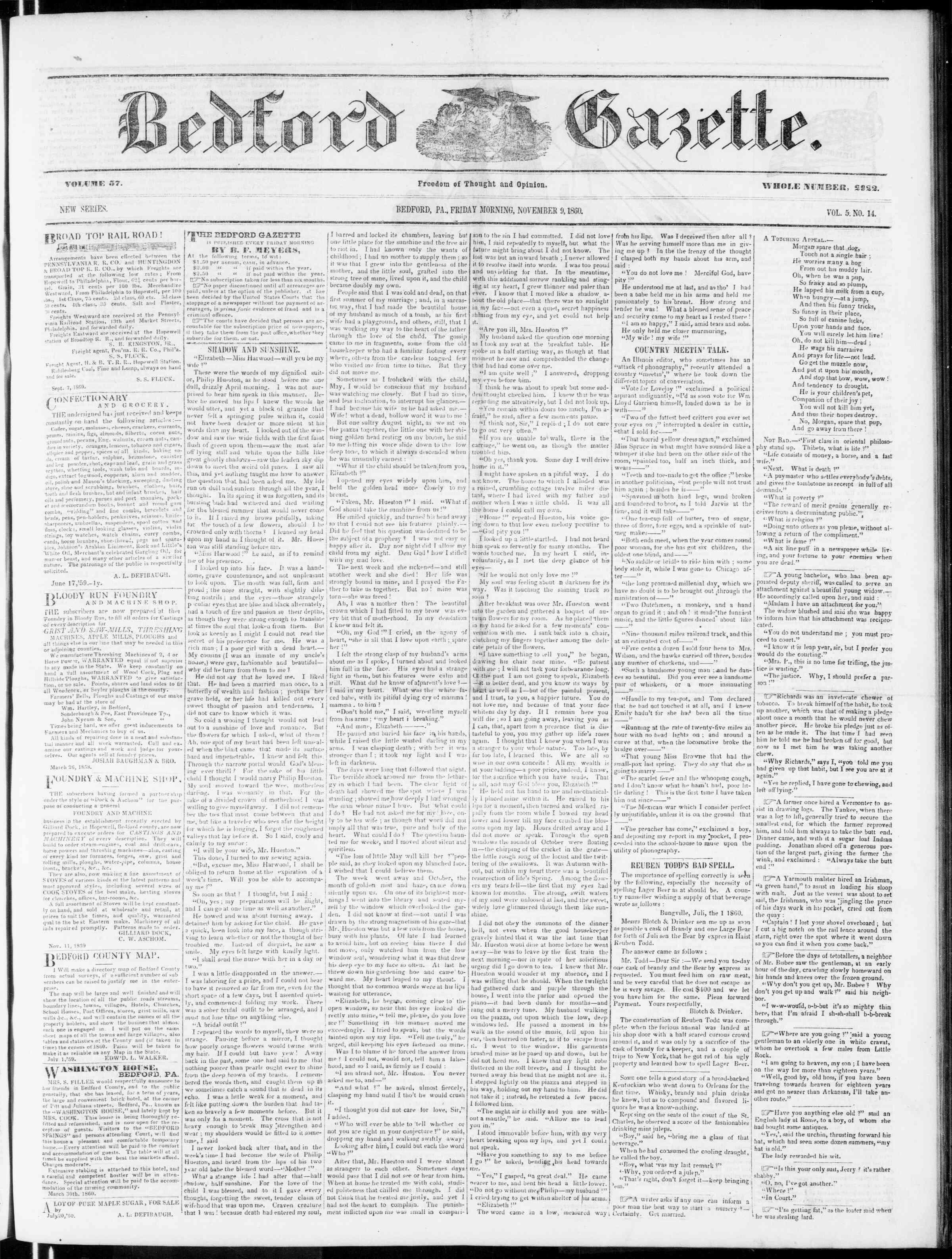 Newspaper of Bedford Gazette dated November 9, 1860 Page 3