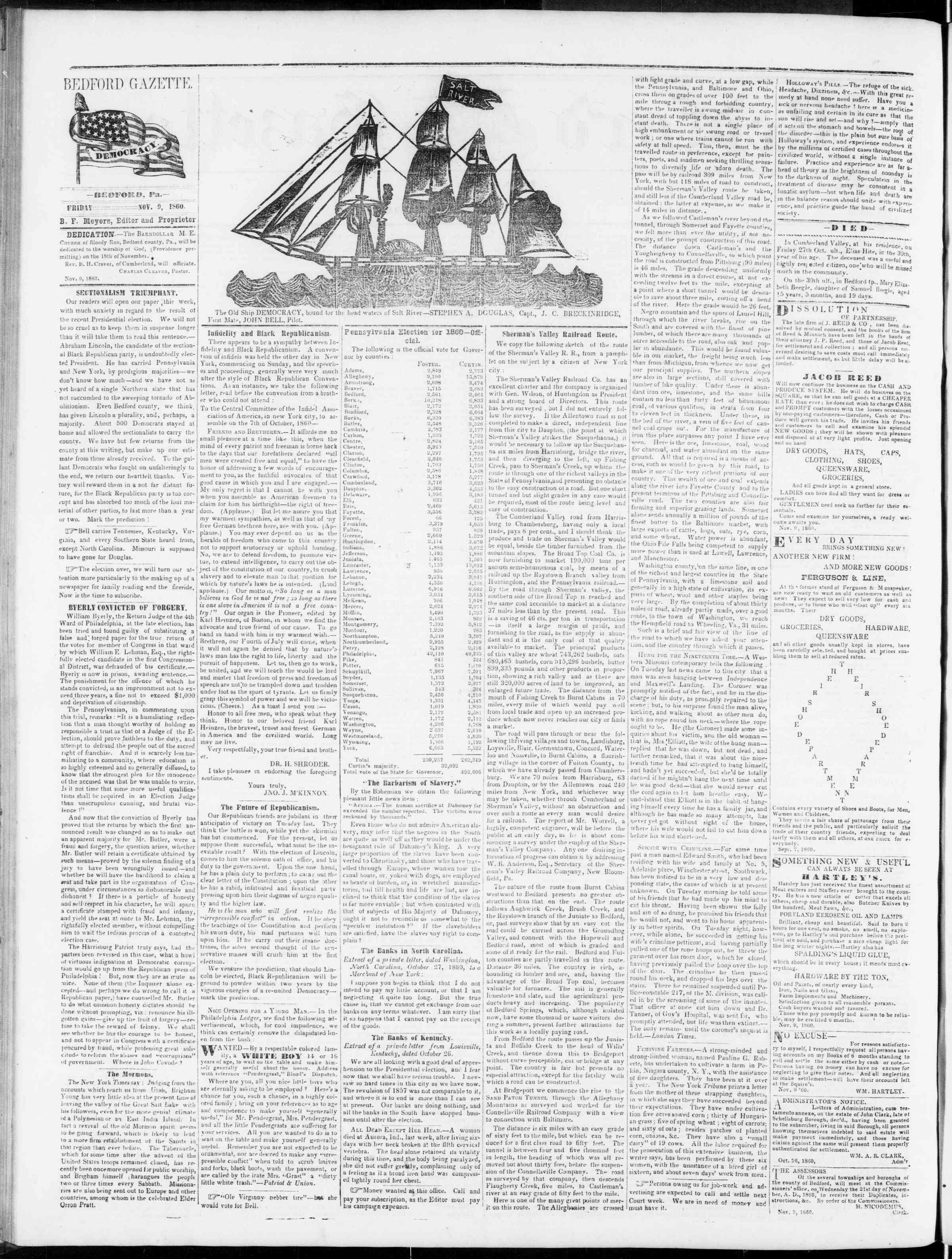 Newspaper of Bedford Gazette dated November 9, 1860 Page 4