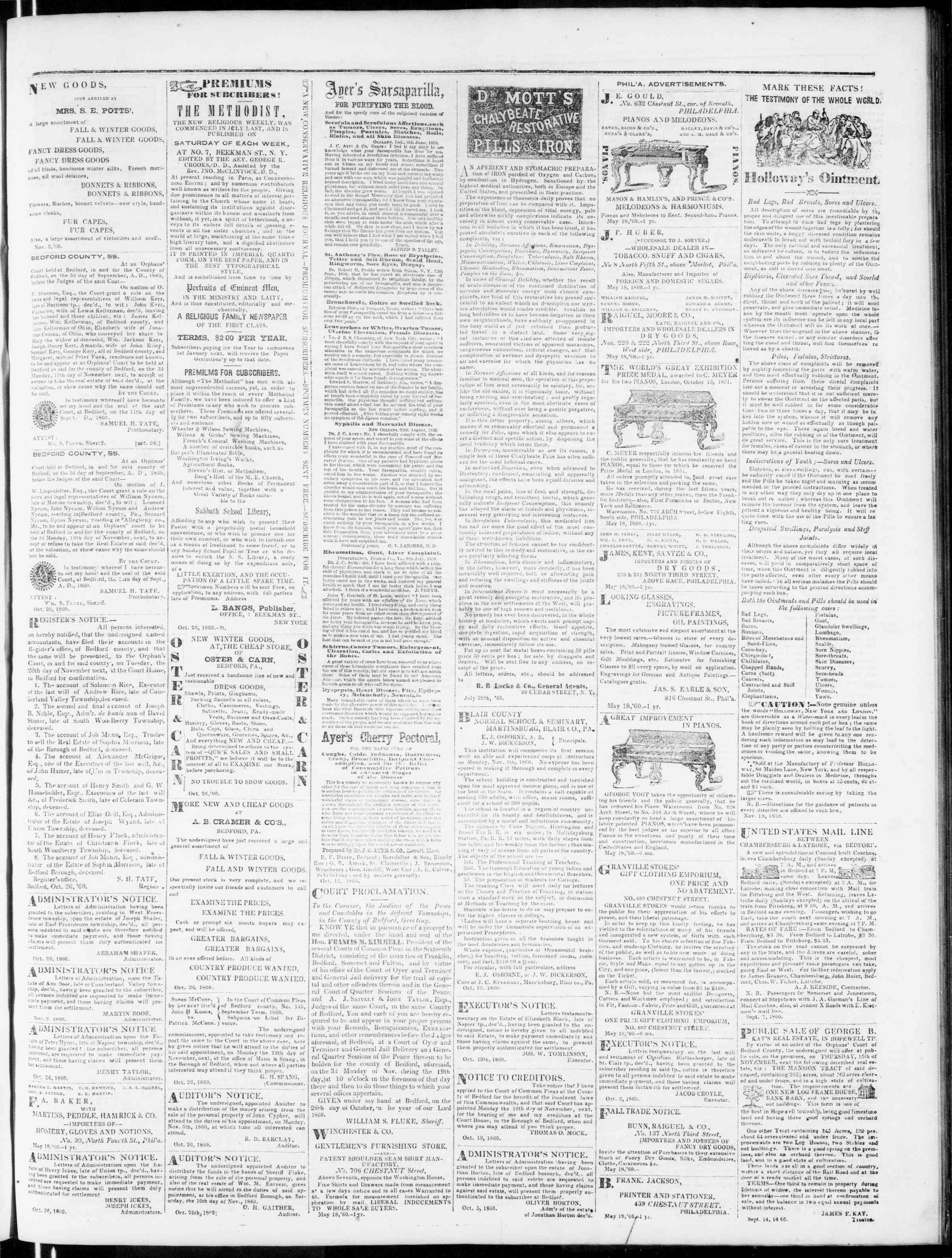Newspaper of Bedford Gazette dated November 9, 1860 Page 5