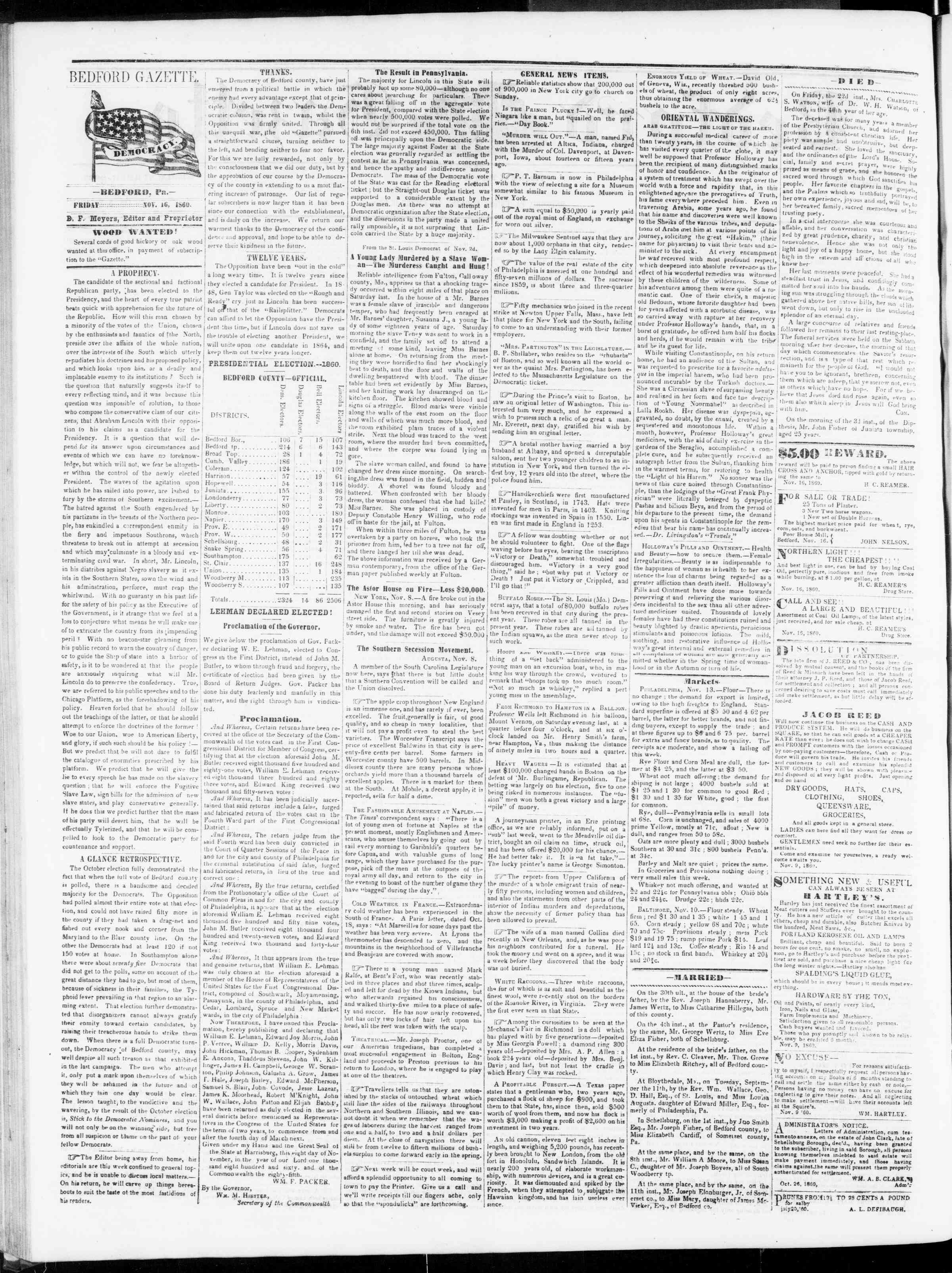 Newspaper of Bedford Gazette dated November 16, 1860 Page 2