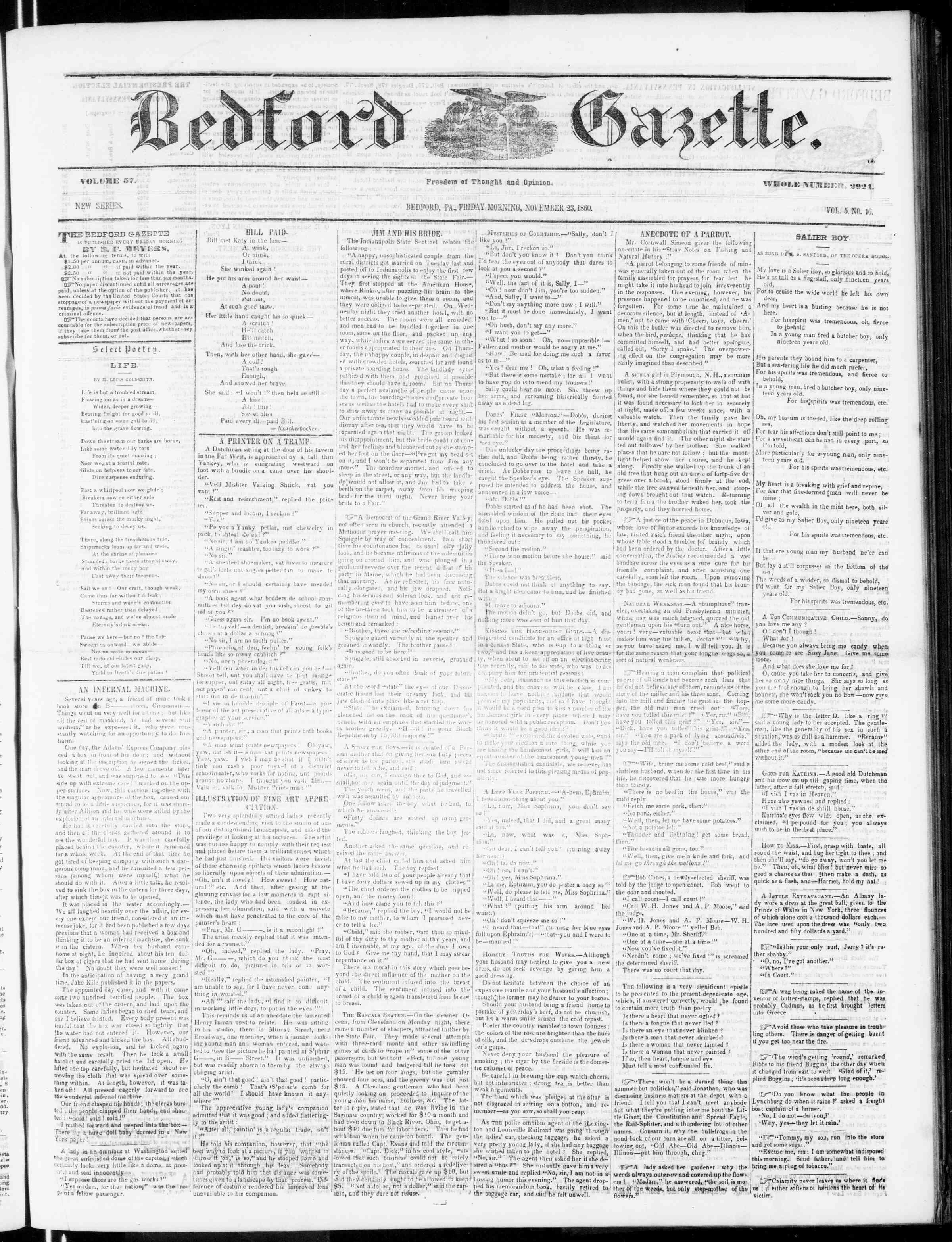 Newspaper of Bedford Gazette dated November 23, 1860 Page 1