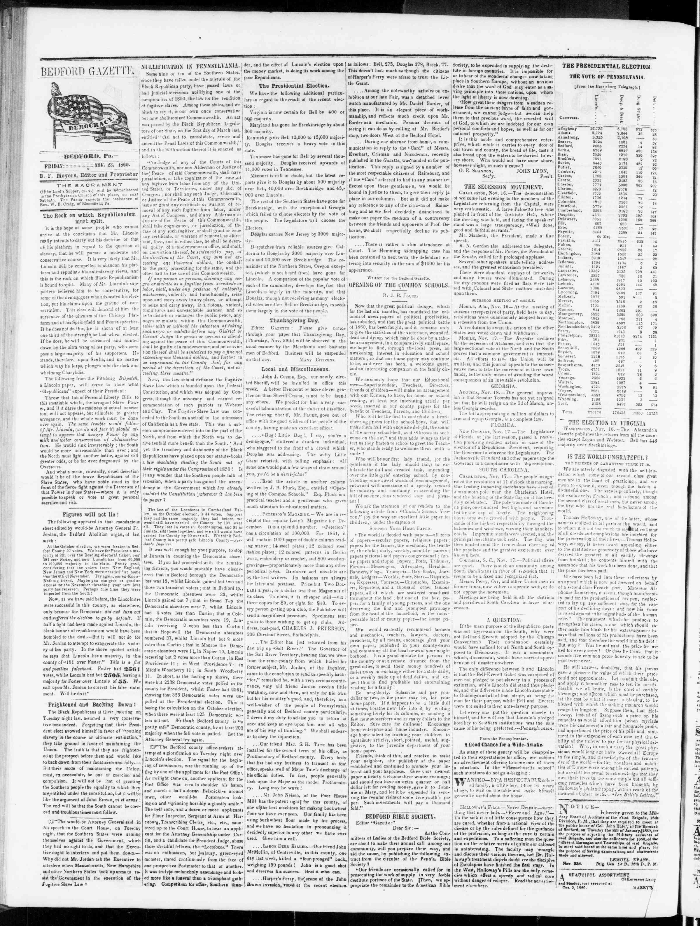 Newspaper of Bedford Gazette dated November 23, 1860 Page 2