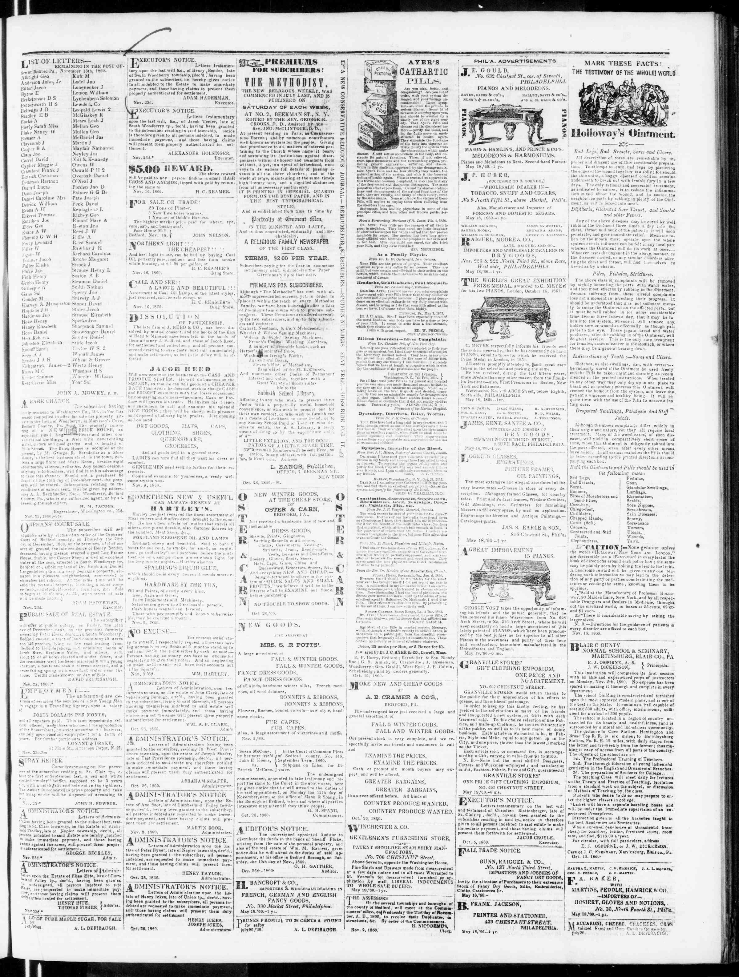 Newspaper of Bedford Gazette dated November 23, 1860 Page 3