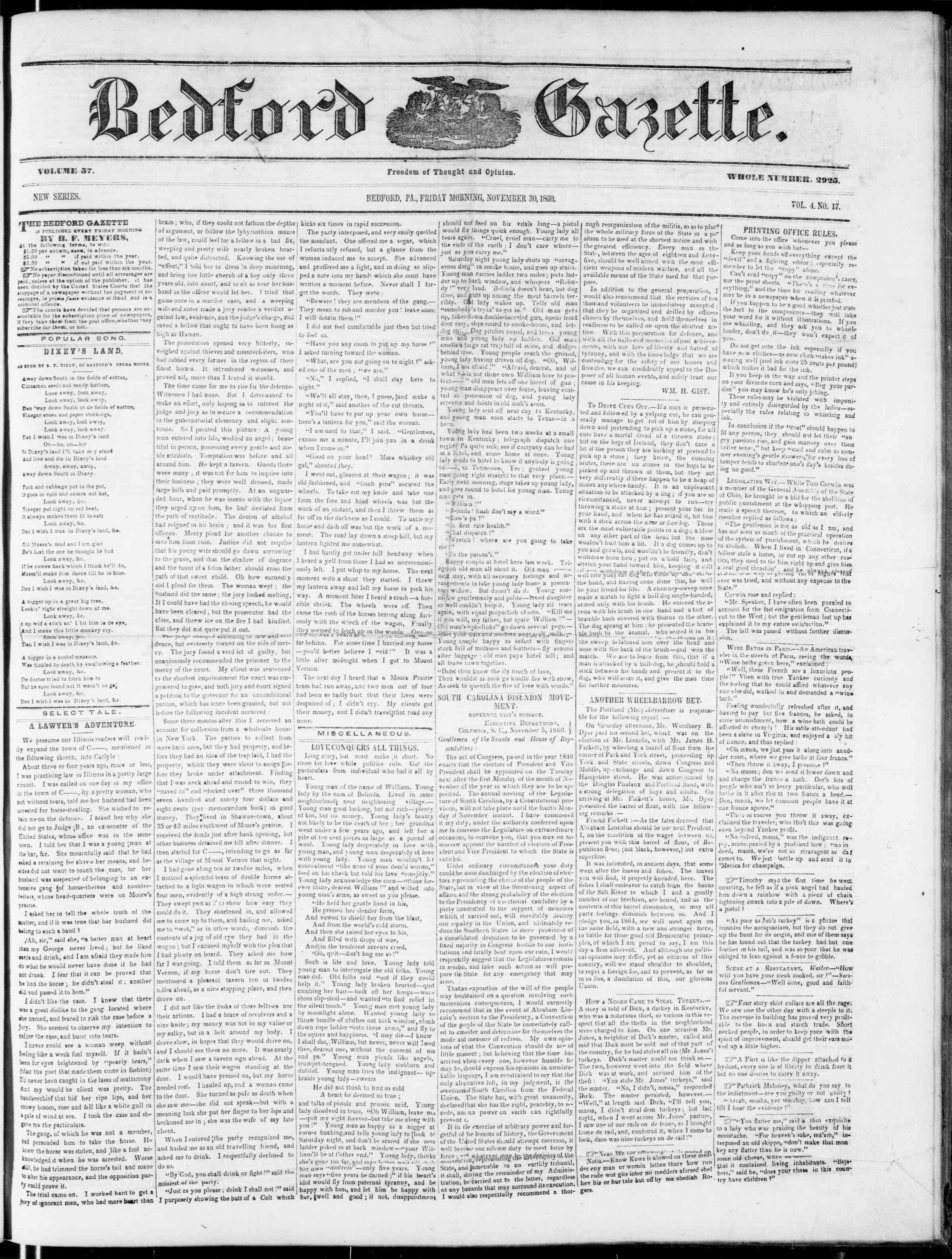 Newspaper of Bedford Gazette dated November 30, 1860 Page 1